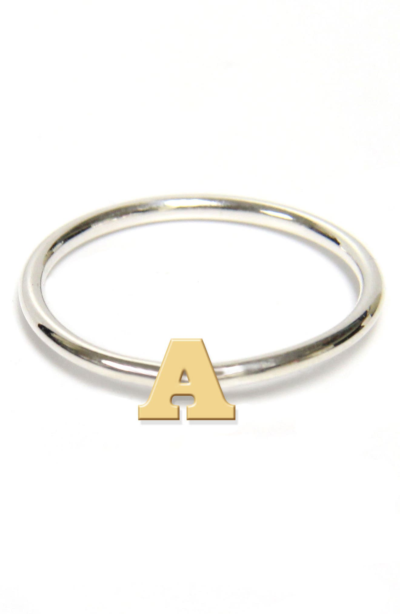Jane Basch Two-Tone Initial Ring,                             Main thumbnail 1, color,                             Gold- A