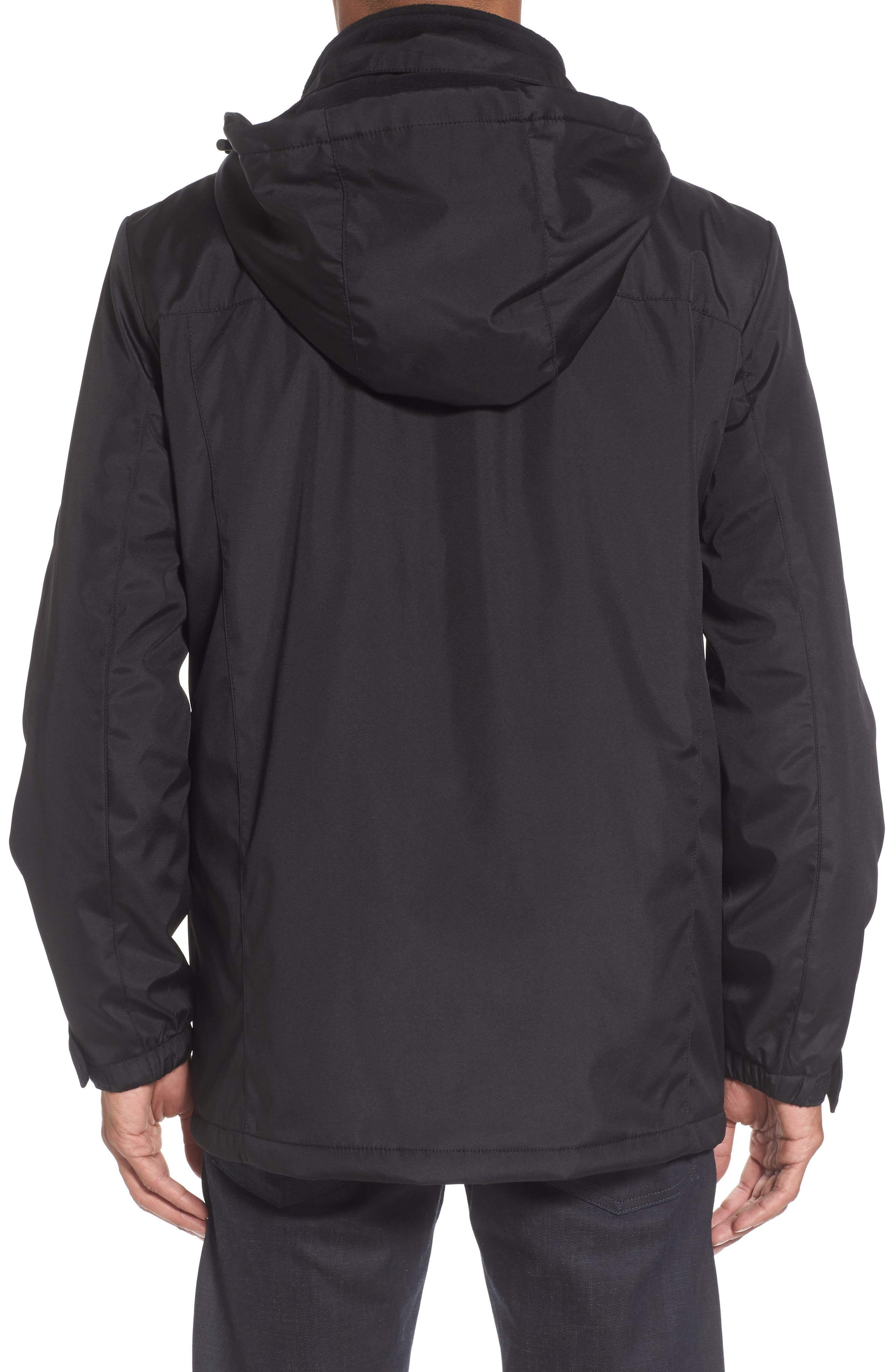Hooded Jacket with Inset Fleece Bib,                             Alternate thumbnail 4, color,                             Black