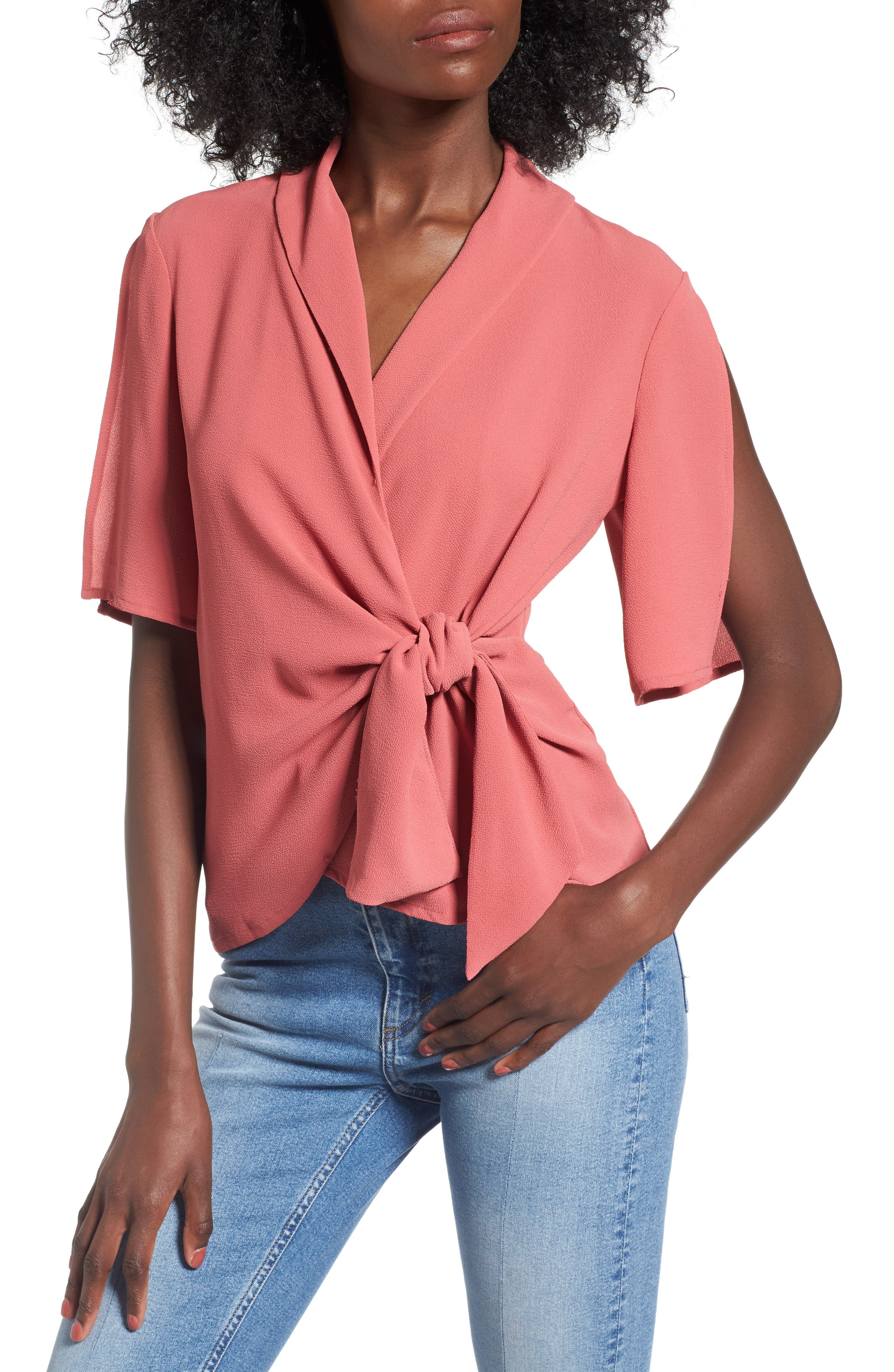 Main Image - Leith Tie Front Wrap Top