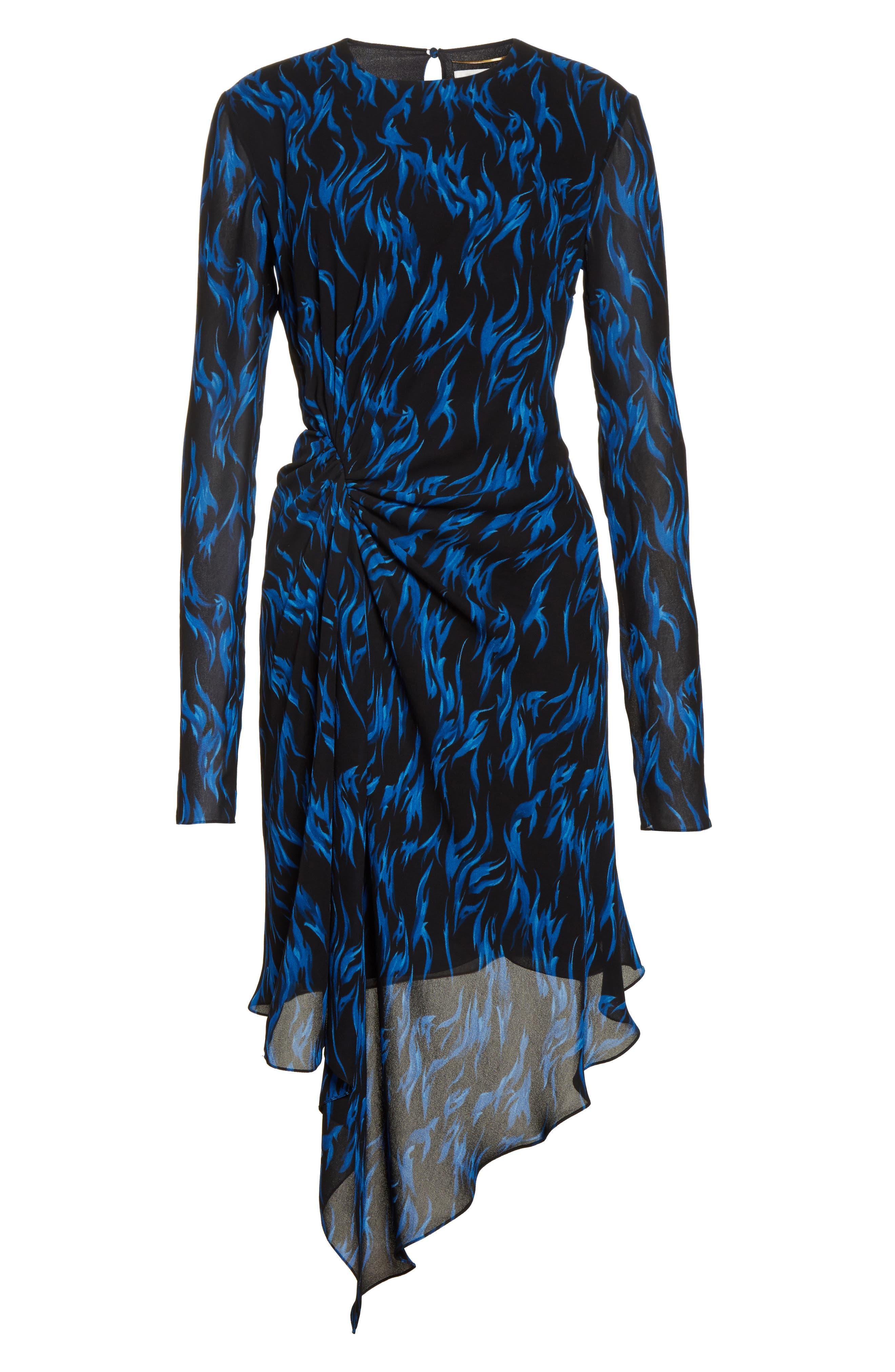 Alternate Image 4  - Saint Laurent Flame Print Crepe Asymmetrical Dress