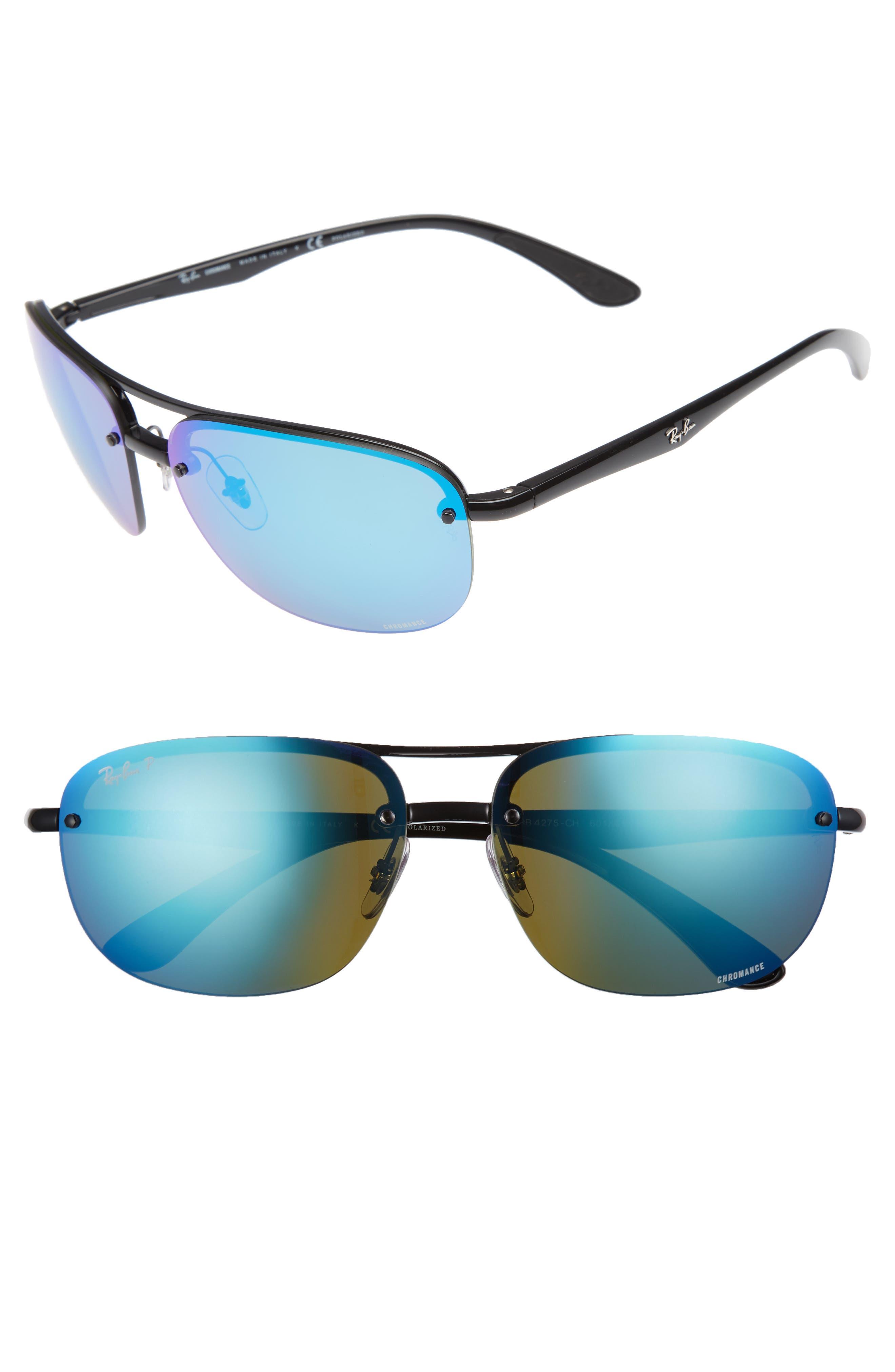 Chromance 63mm Polarized Square Sunglasses,                             Main thumbnail 1, color,                             Black