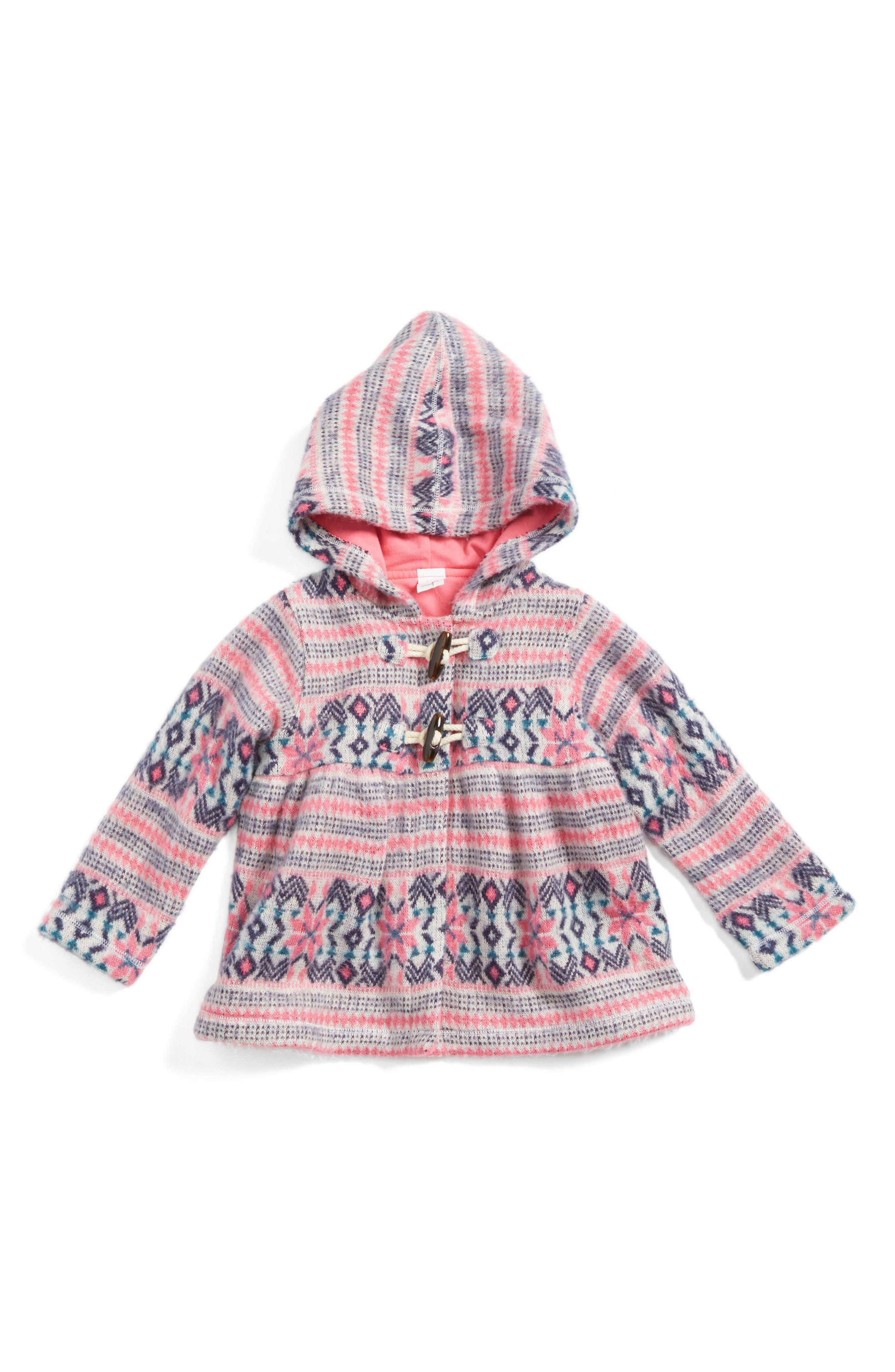 Fair Isle Hooded Jacket,                             Main thumbnail 1, color,                             Ivory Egret- Pink Fairisle
