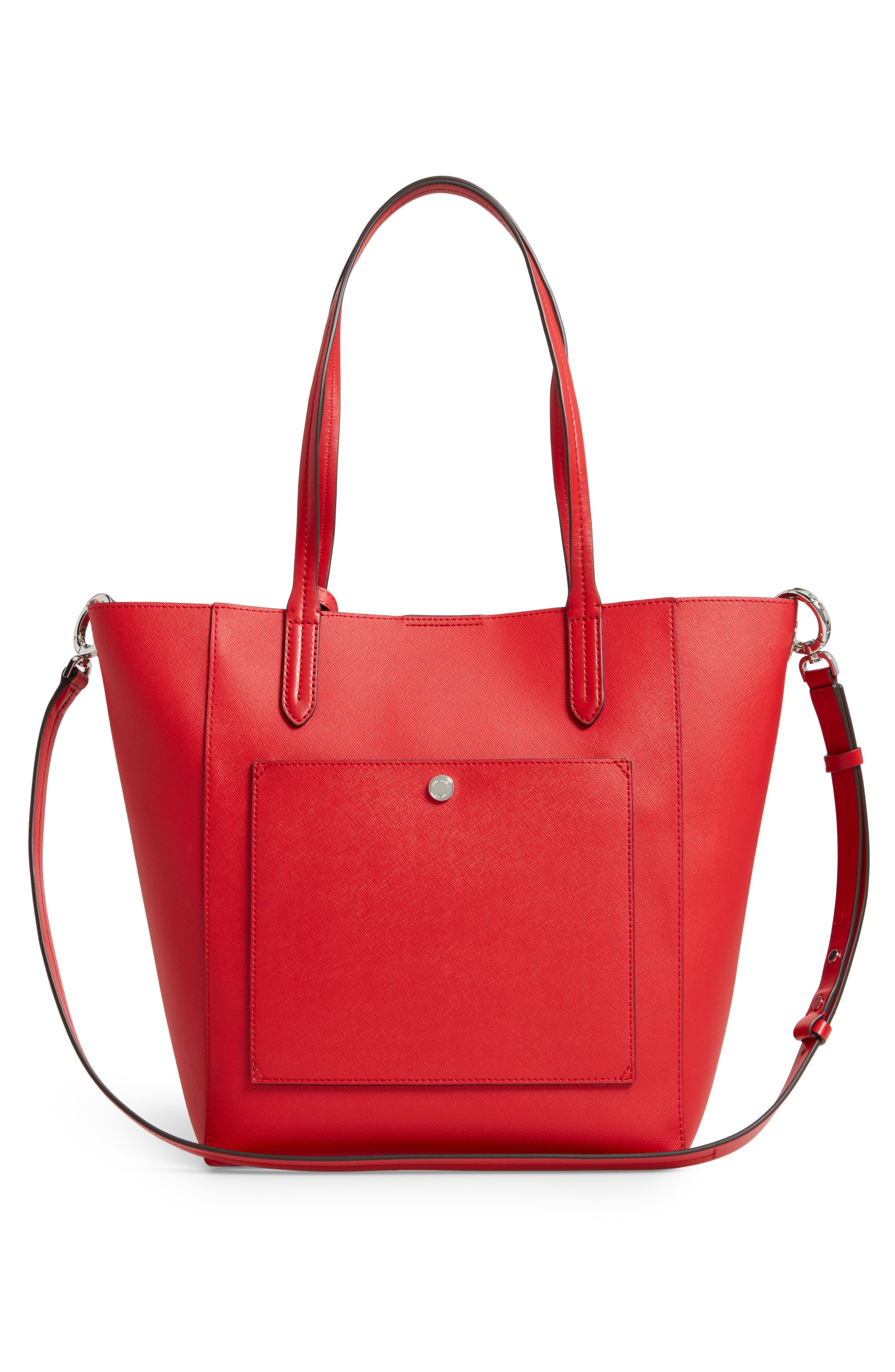 Penny Large Saffiano Convertible Leather Tote,                             Alternate thumbnail 3, color,                             Bright Red