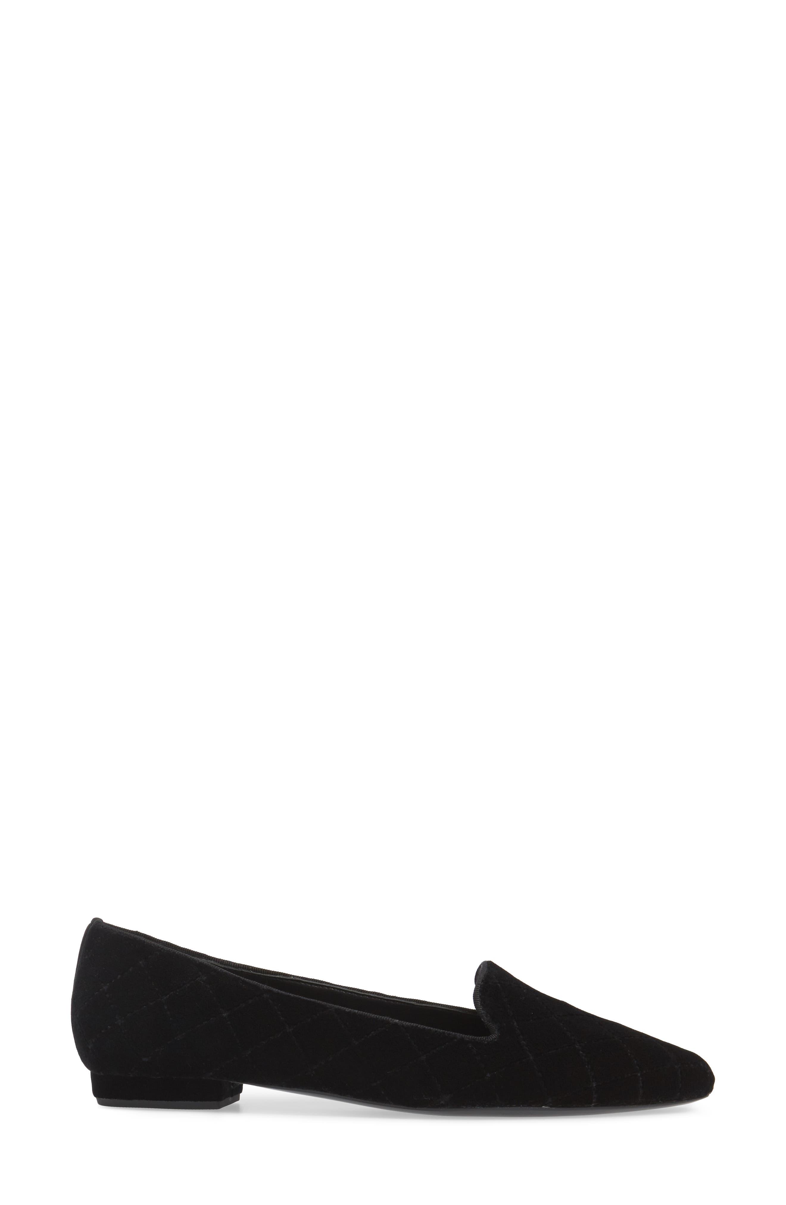 Gannie Diamond Pattern Loafer,                             Alternate thumbnail 3, color,                             Black Velvet Fabric
