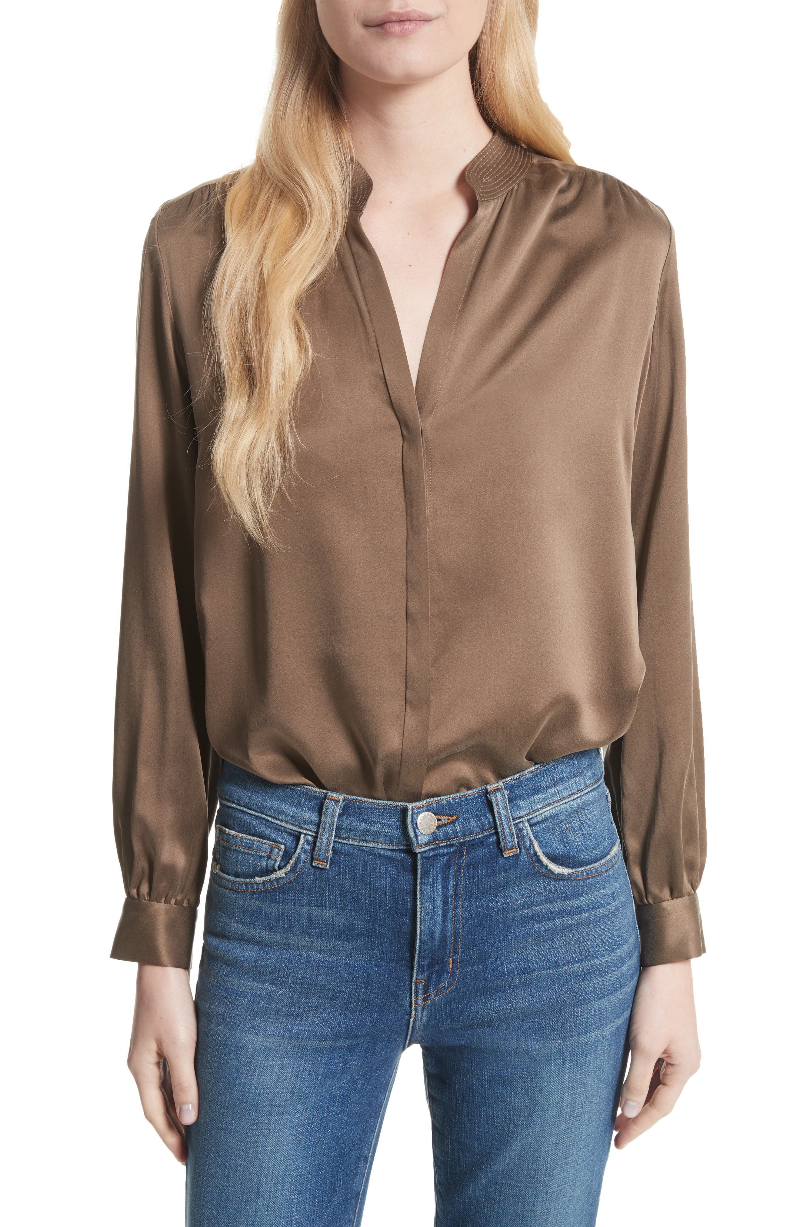 Bianca Silk Blouse,                         Main,                         color, Washed Brown