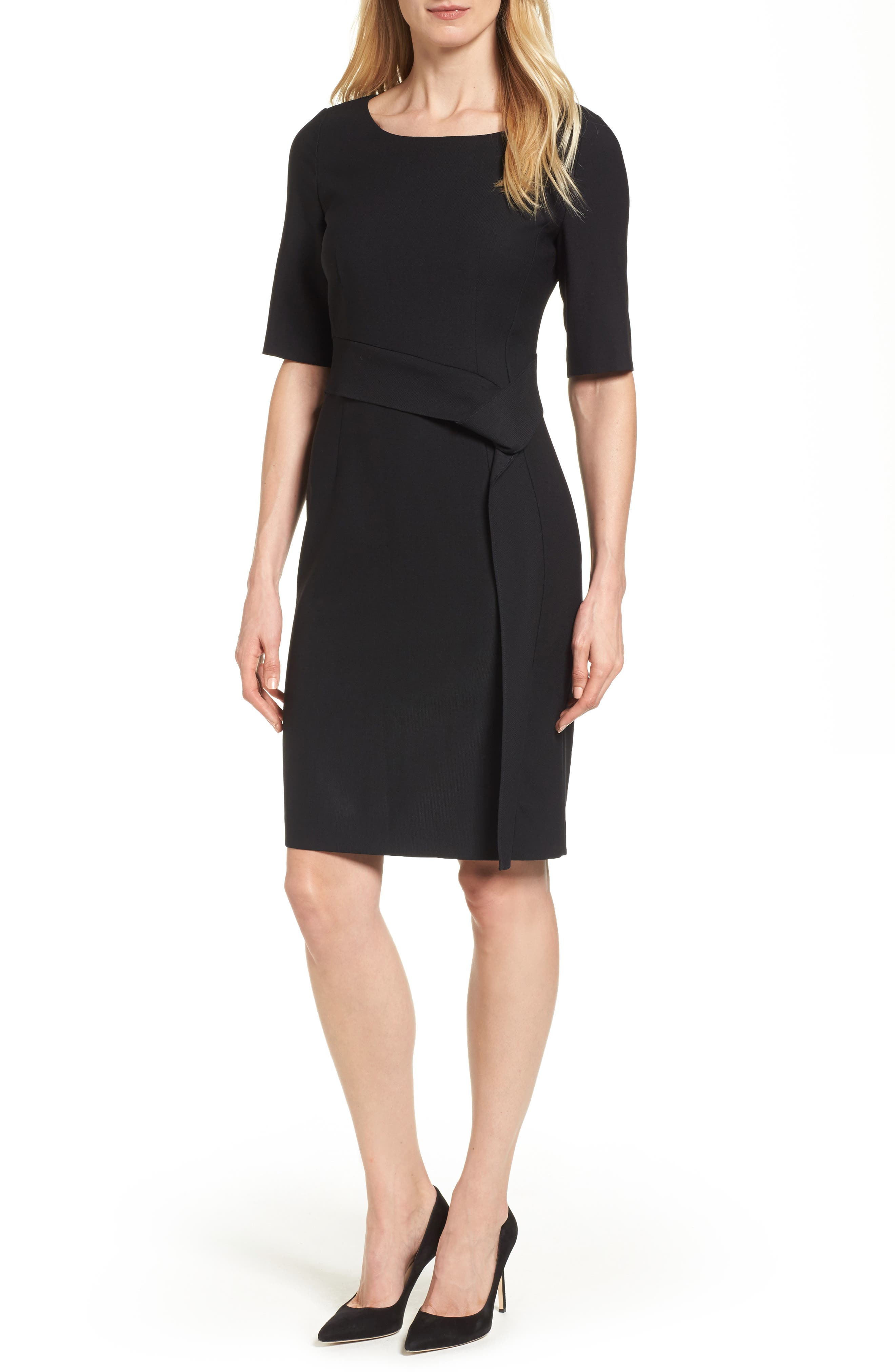 Delera Stretch Wool Sheath Dress,                             Main thumbnail 1, color,                             Black