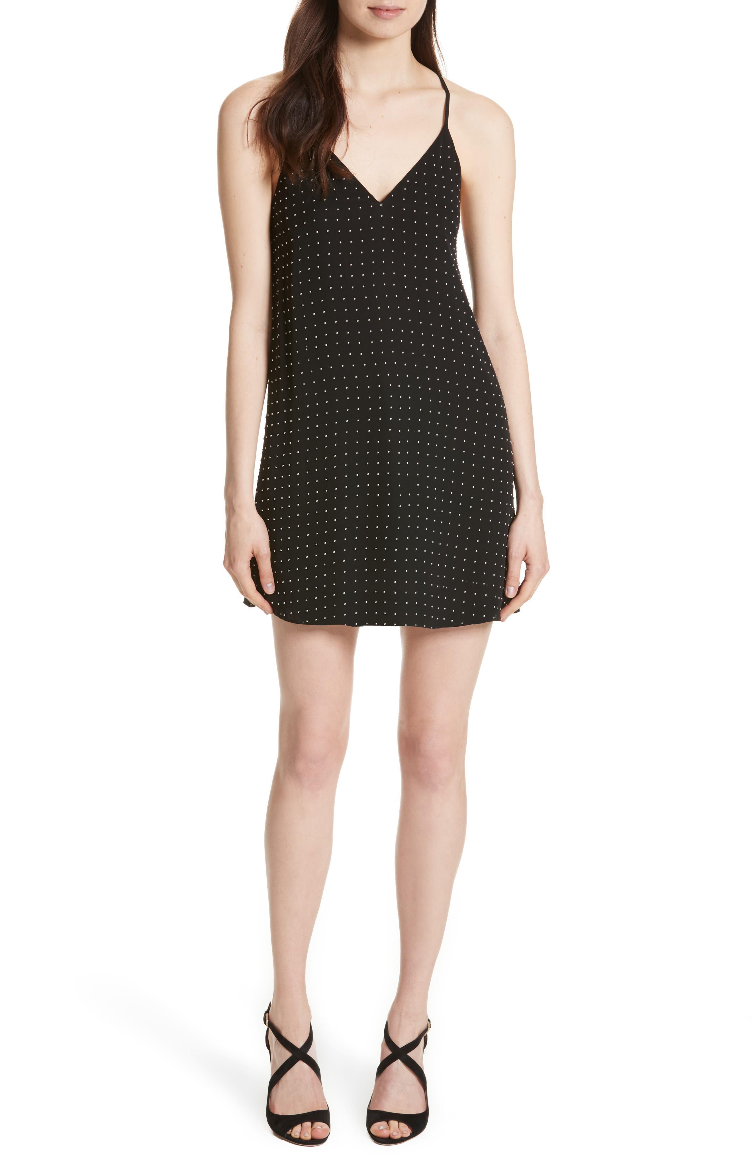 Main Image - Alice + Olivia Jameson Studded Y-Back Silk Slipdress