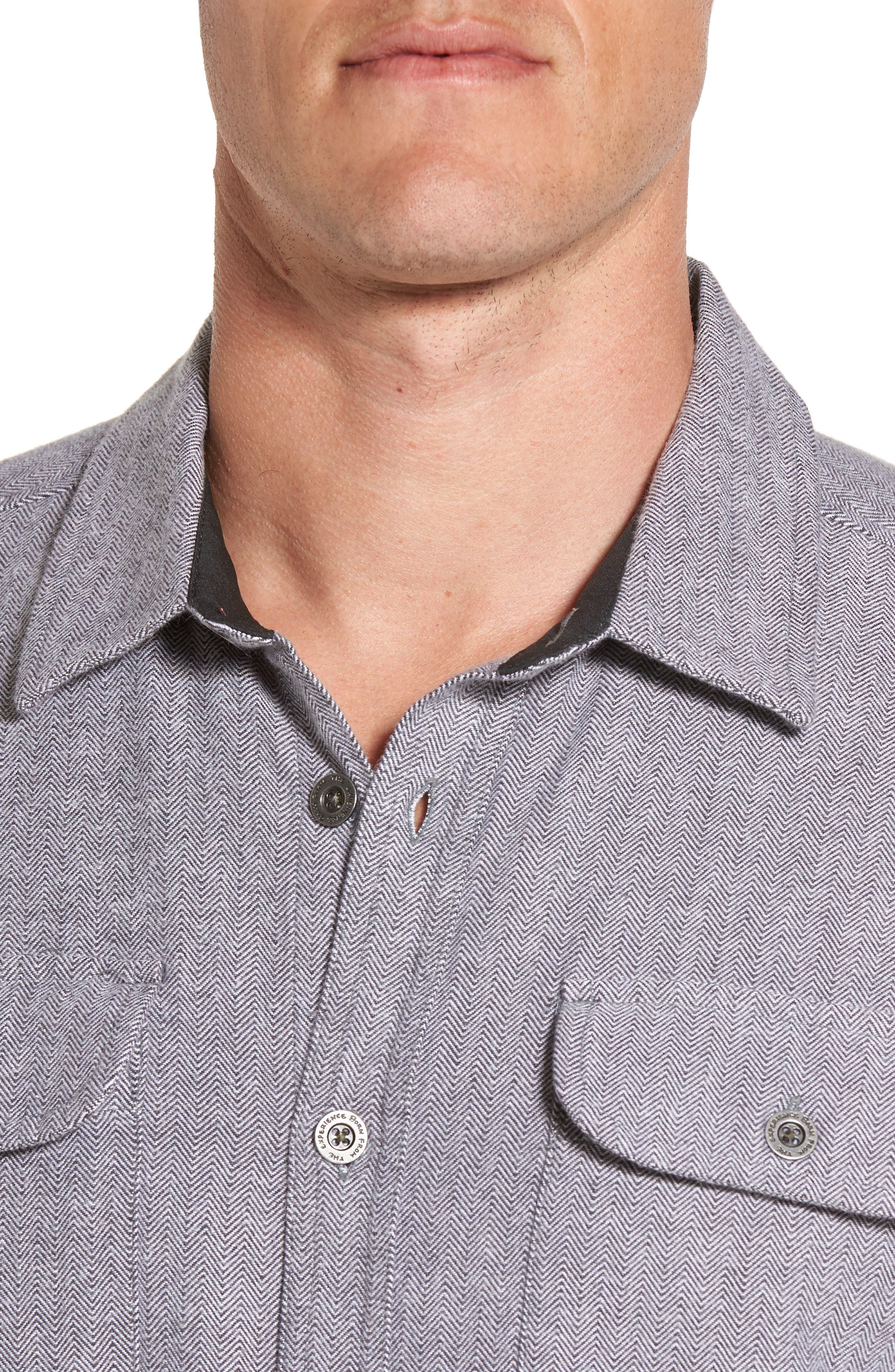Lybek Regular Fit Herringbone Flannel Shirt,                             Alternate thumbnail 4, color,                             Gravel