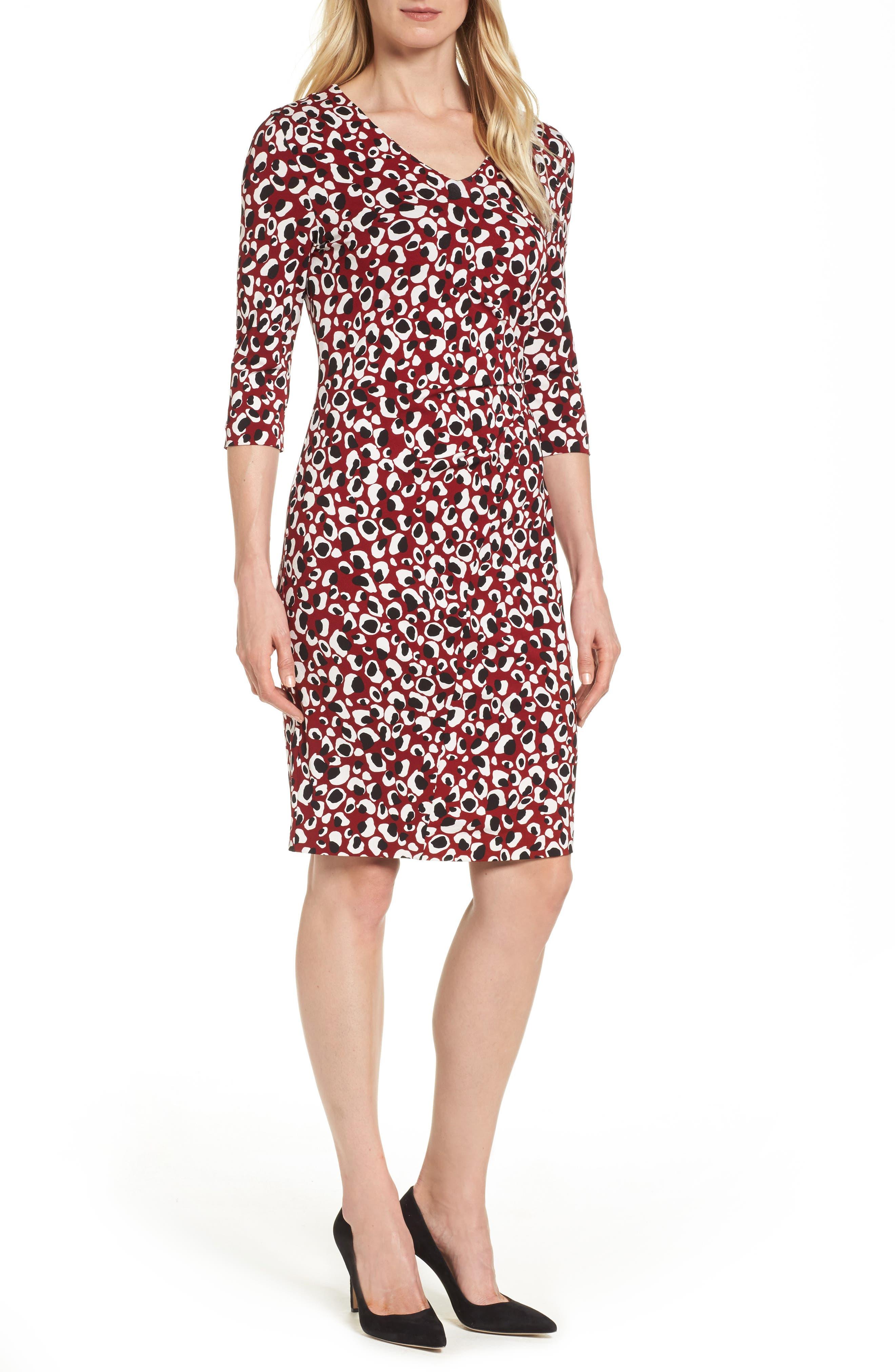 Epona Print Crepe Sheath Dress,                         Main,                         color, Pomegranate Fantasy