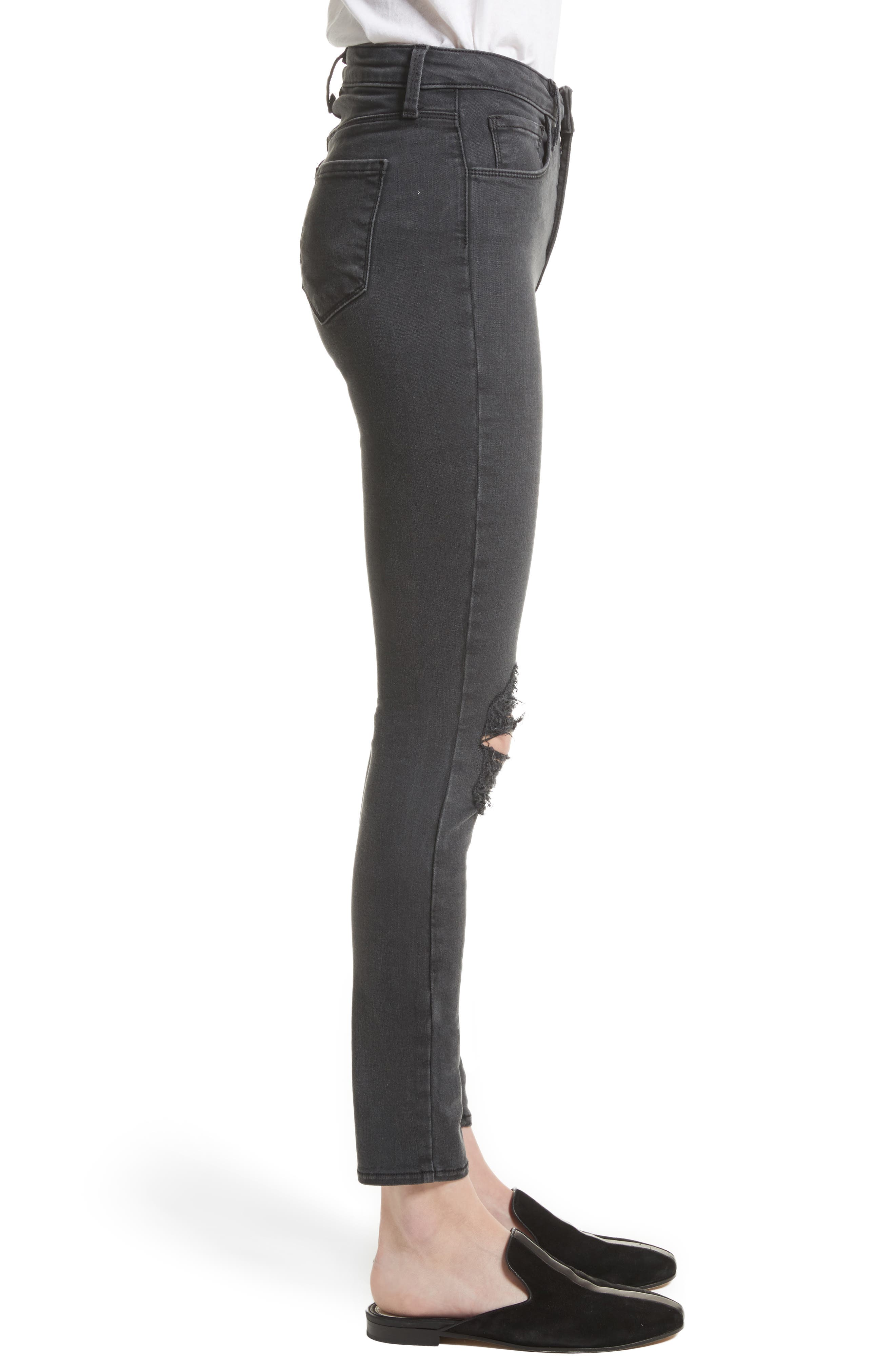 Alternate Image 4  - L'AGENCE Margot Ripped High Waist Skinny Jeans (Coal Destruct)