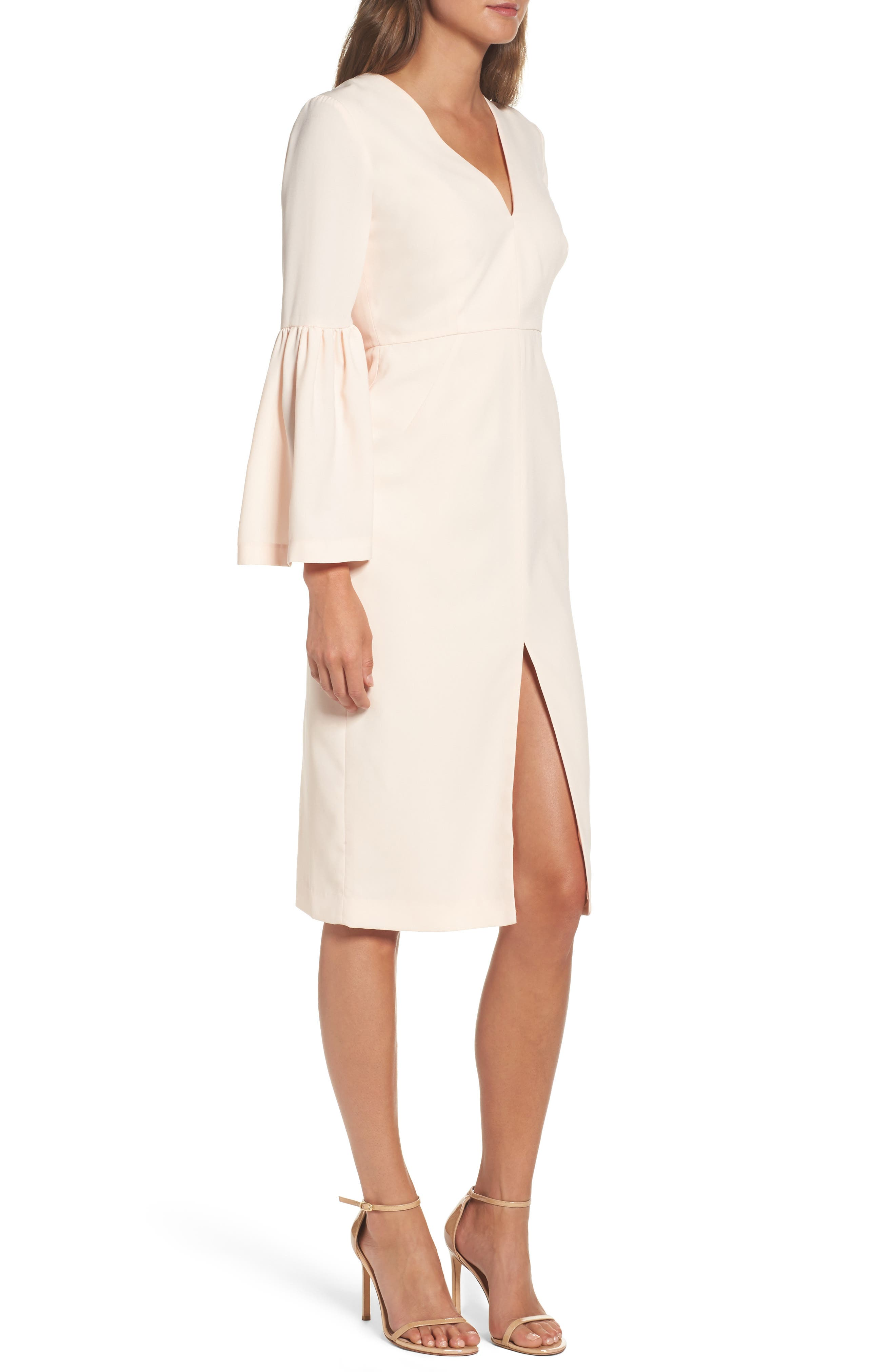Bell Sleeve Dress,                             Alternate thumbnail 3, color,                             Powder
