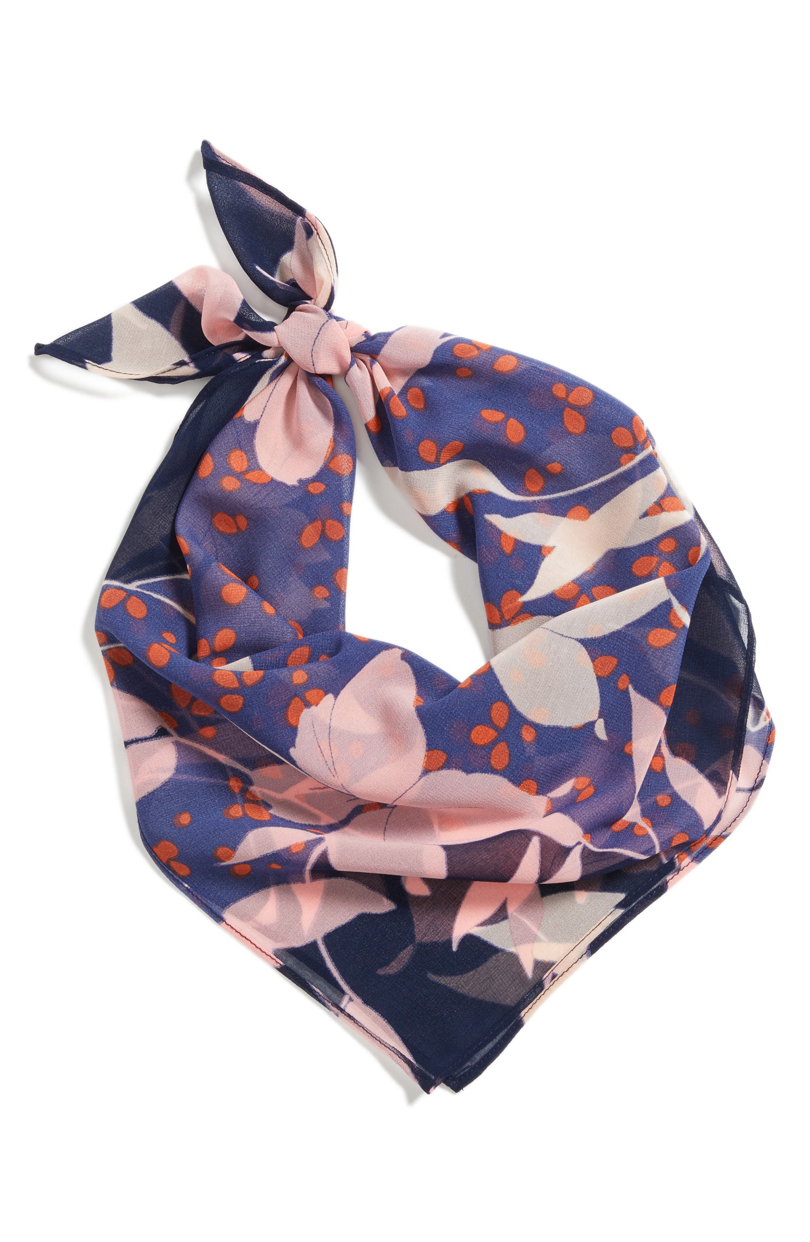 Floral Square Scarf,                             Alternate thumbnail 3, color,                             Navy Combo
