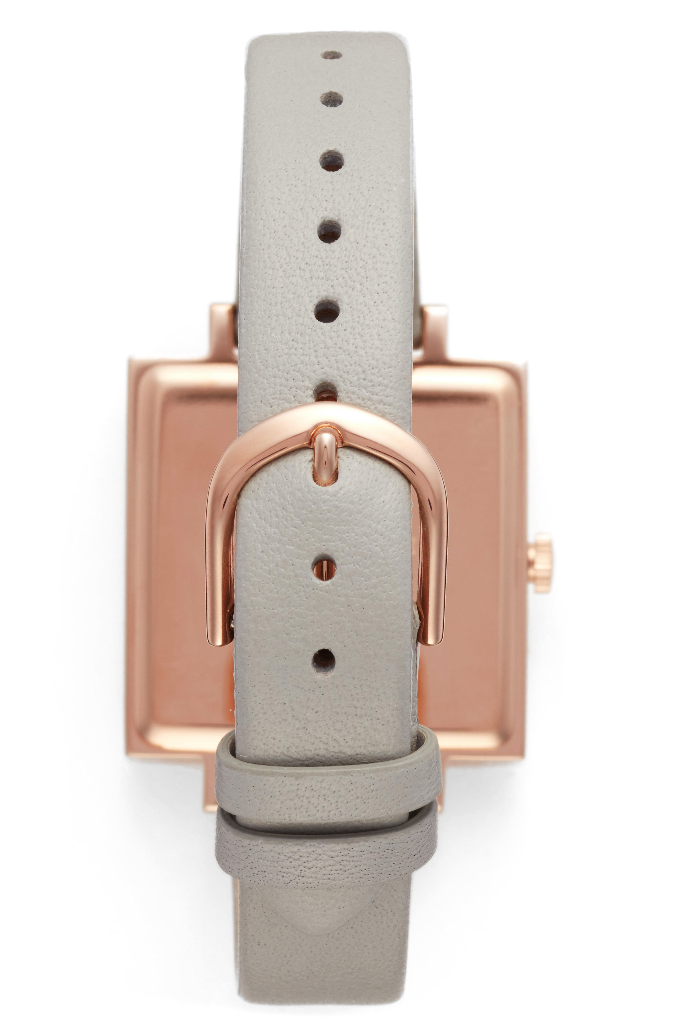 Big Square Leather Strap Watch, 30mm,                             Alternate thumbnail 2, color,                             Grey/ White/ Rose Gold