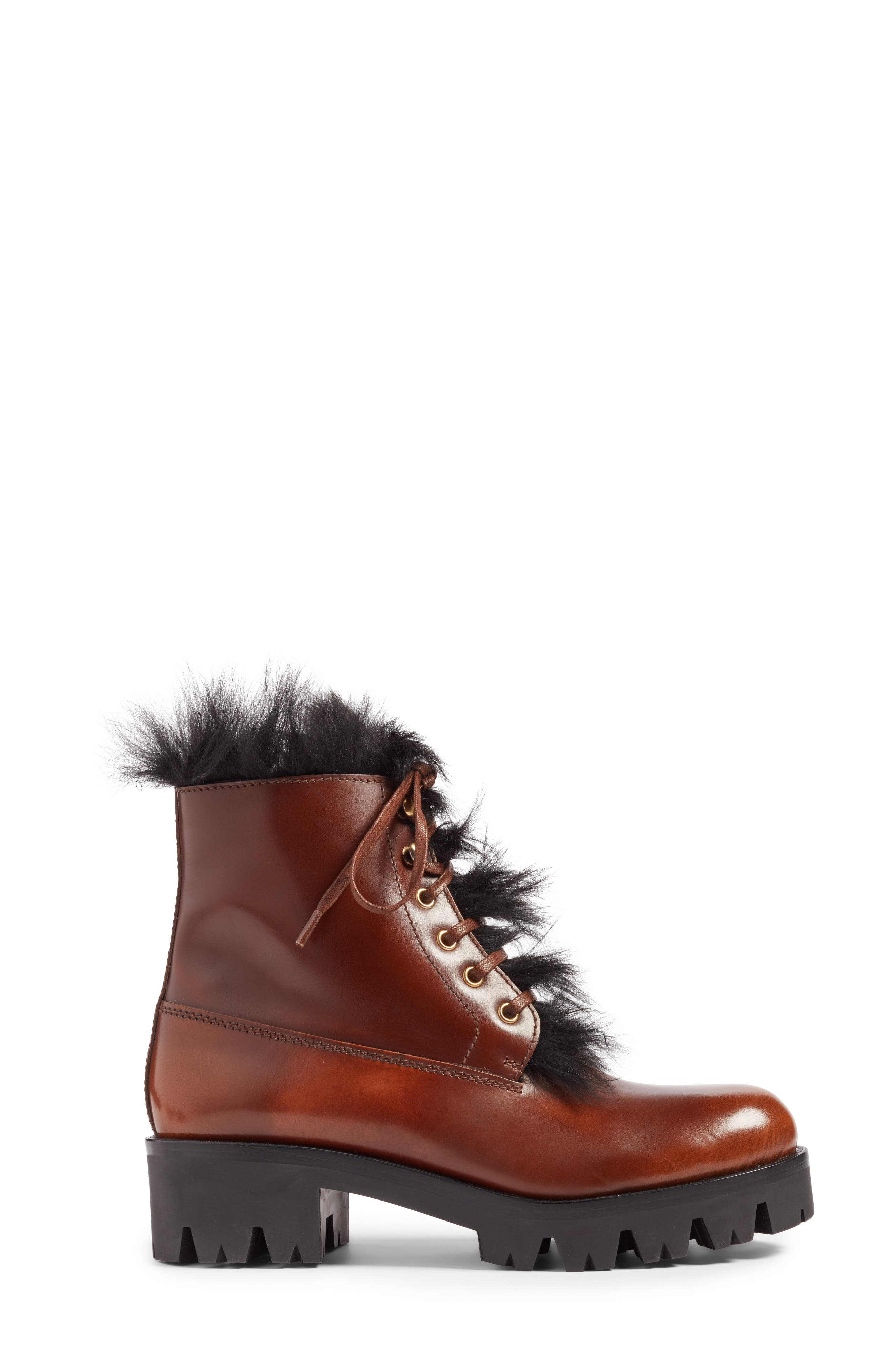 Calfskin Boot with Genuine Shearling Trim,                             Alternate thumbnail 3, color,                             Brown