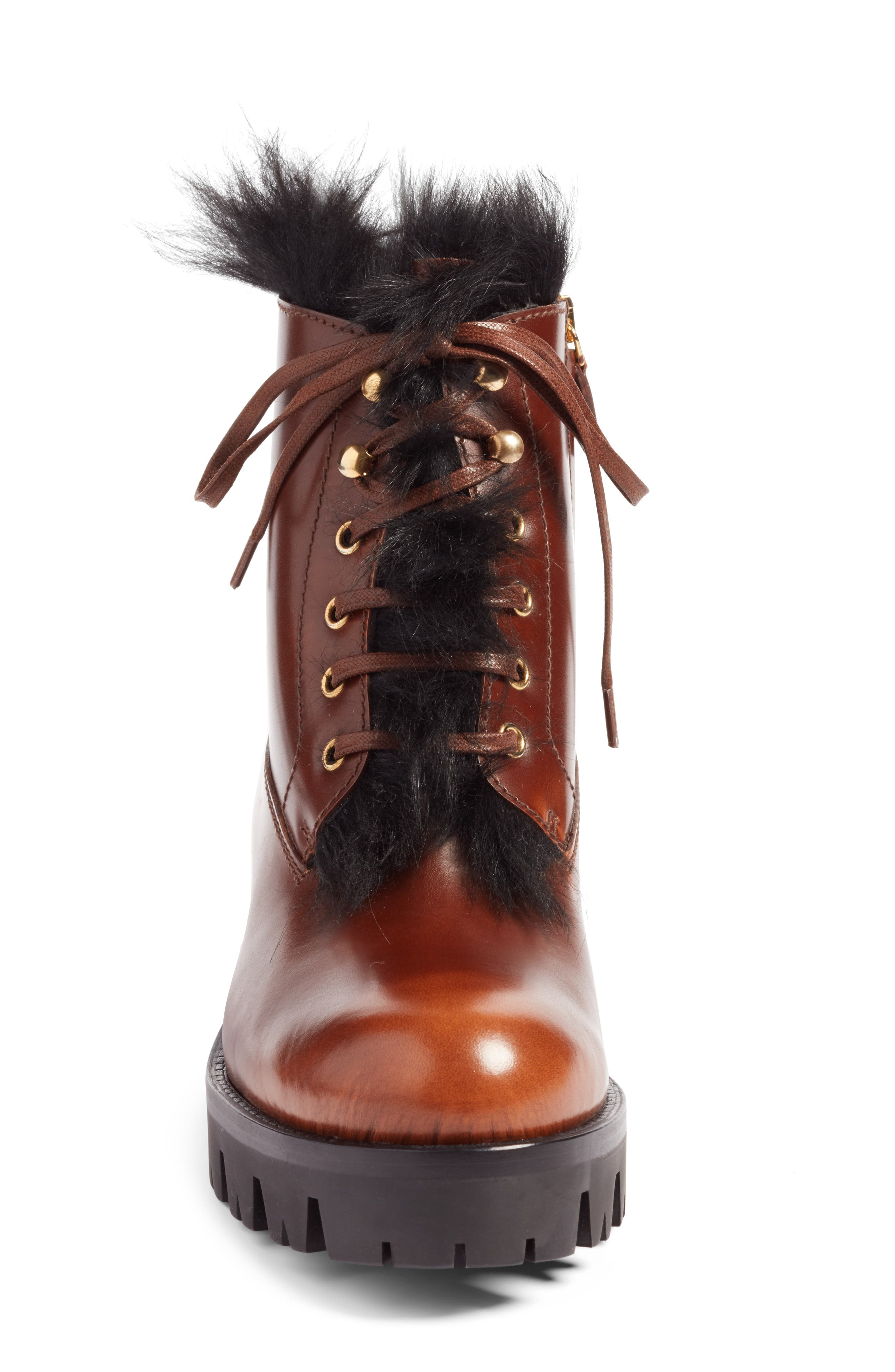 Calfskin Boot with Genuine Shearling Trim,                             Alternate thumbnail 4, color,                             Brown