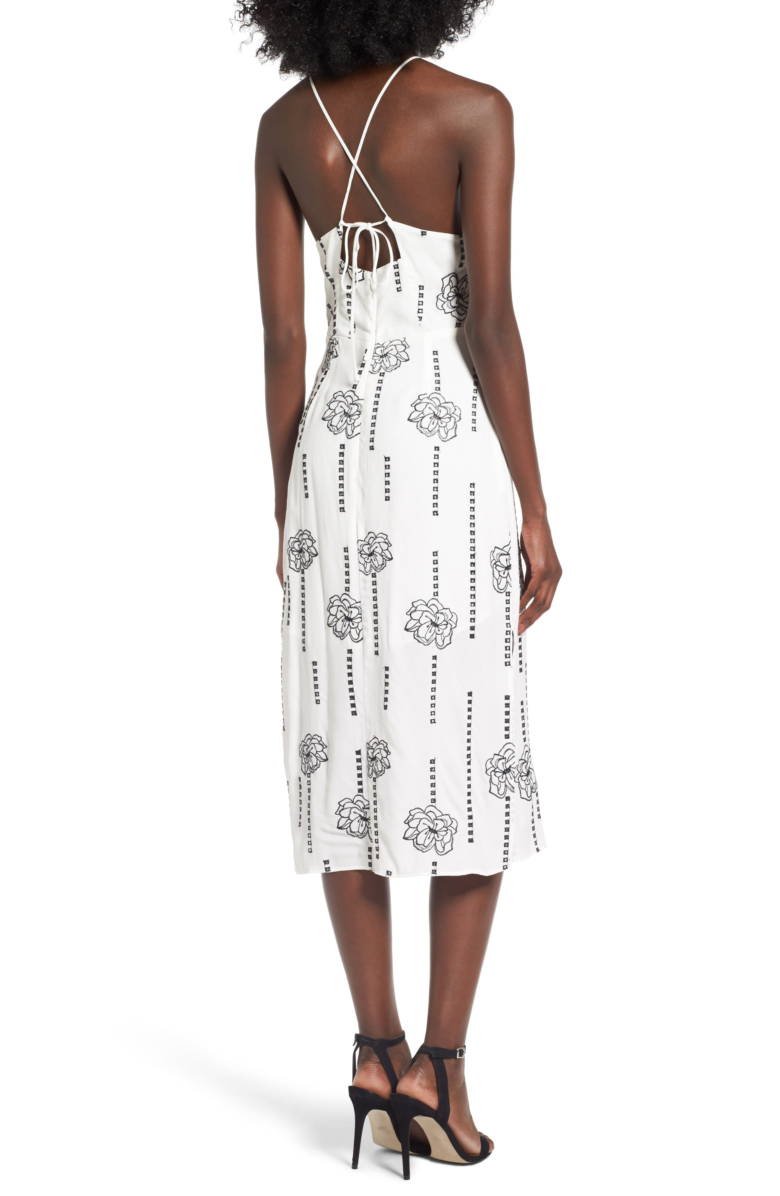 High Neck Embroidered Midi Dress,                             Alternate thumbnail 2, color,                             White-Black