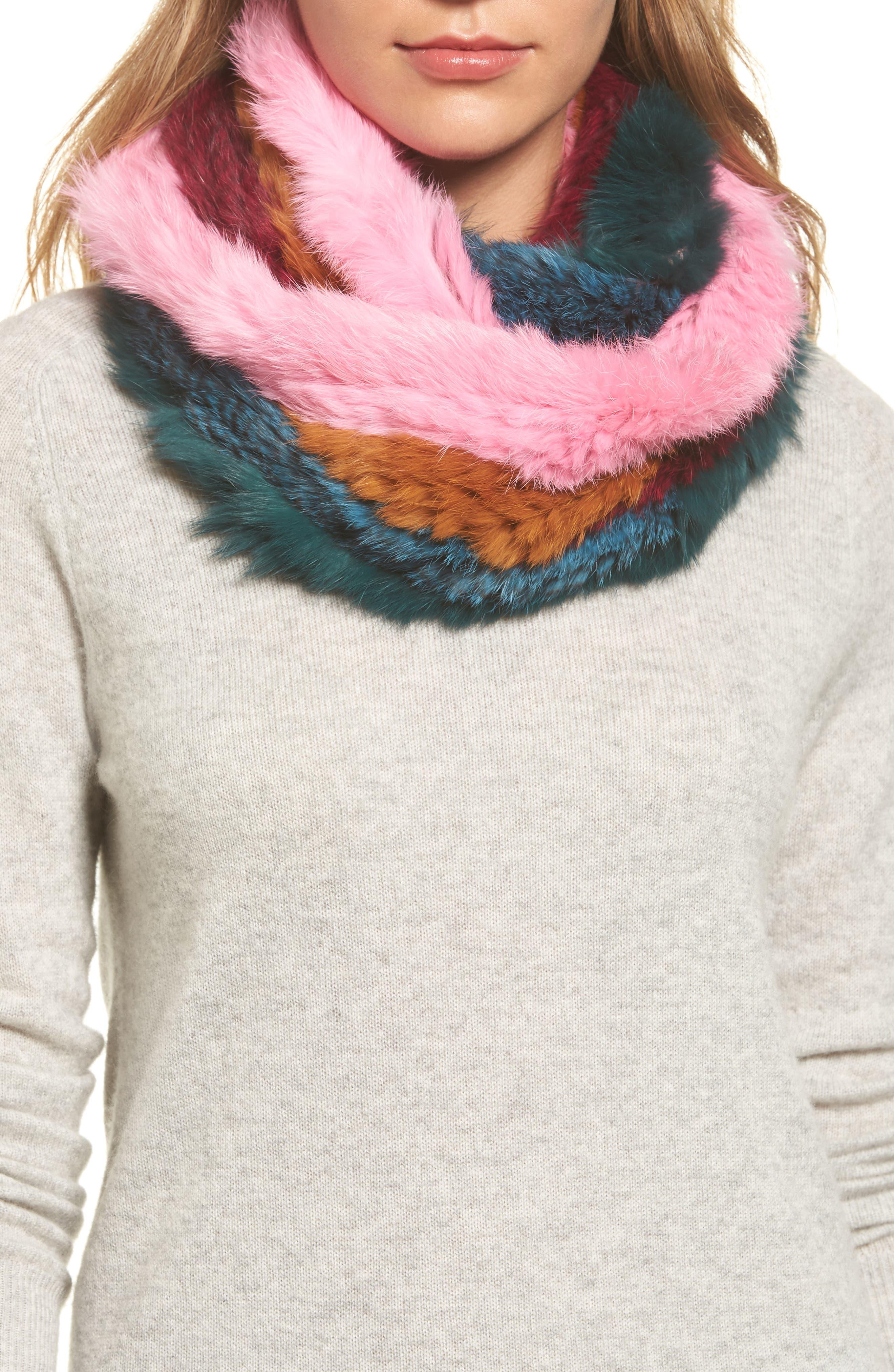 Jocelyn Striped Genuine Rabbit Fur Infinity Scarf