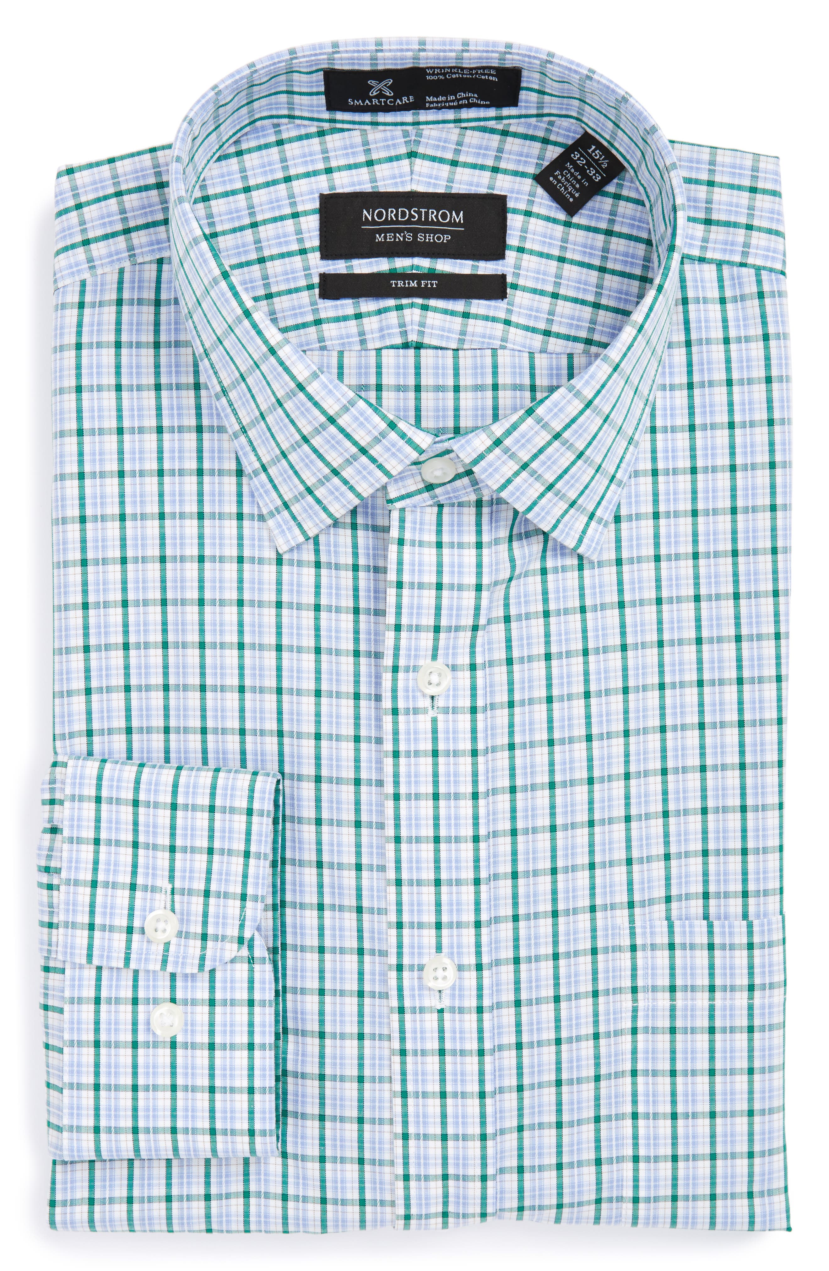 NORDSTROM MENS SHOP Smartcare<sup>™</sup> Trim Fit Check Dress Shirt
