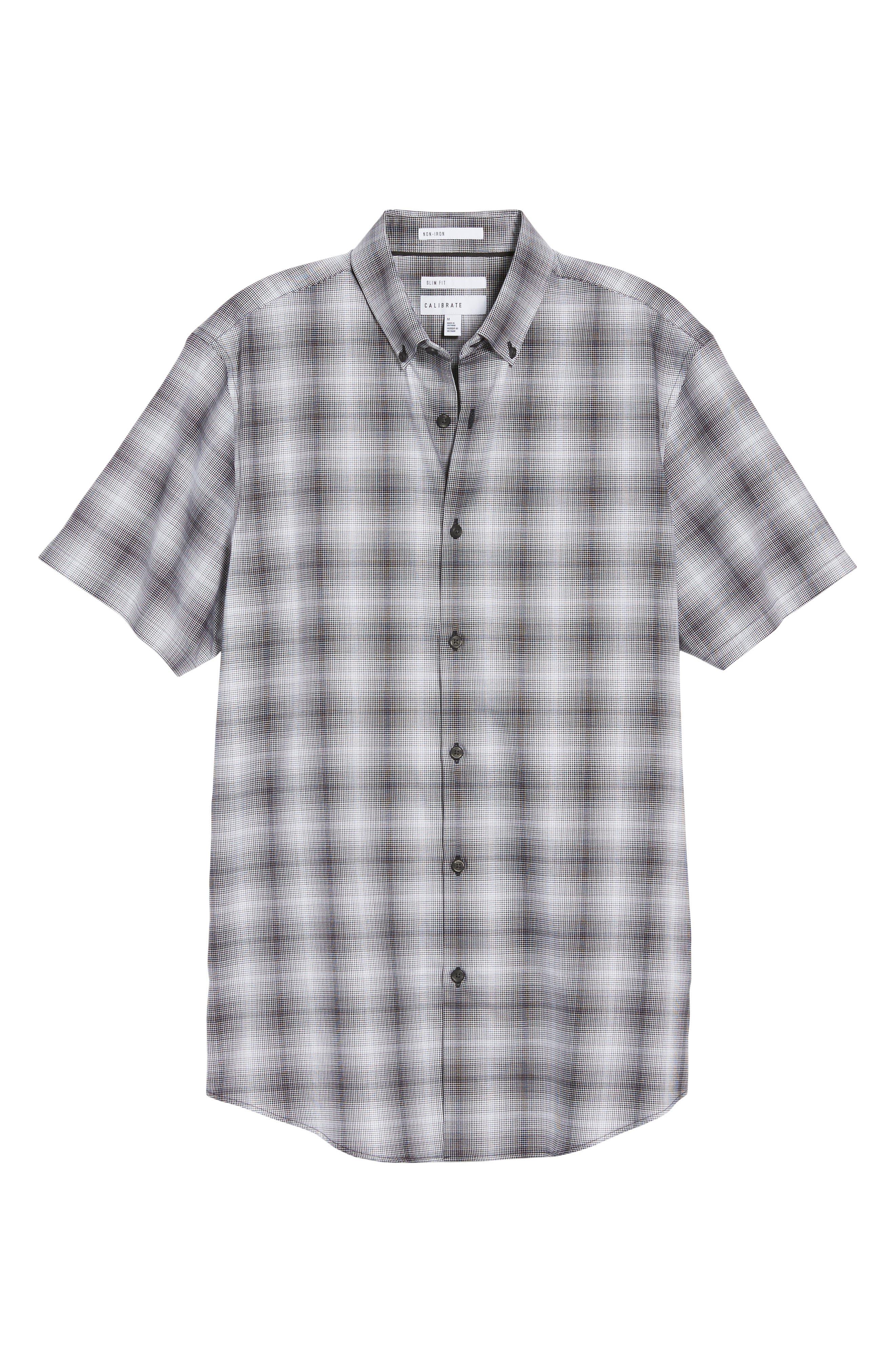 Non-Iron Moiré Plaid Woven Shirt,                             Alternate thumbnail 5, color,                             Black Houndstooth Plaid