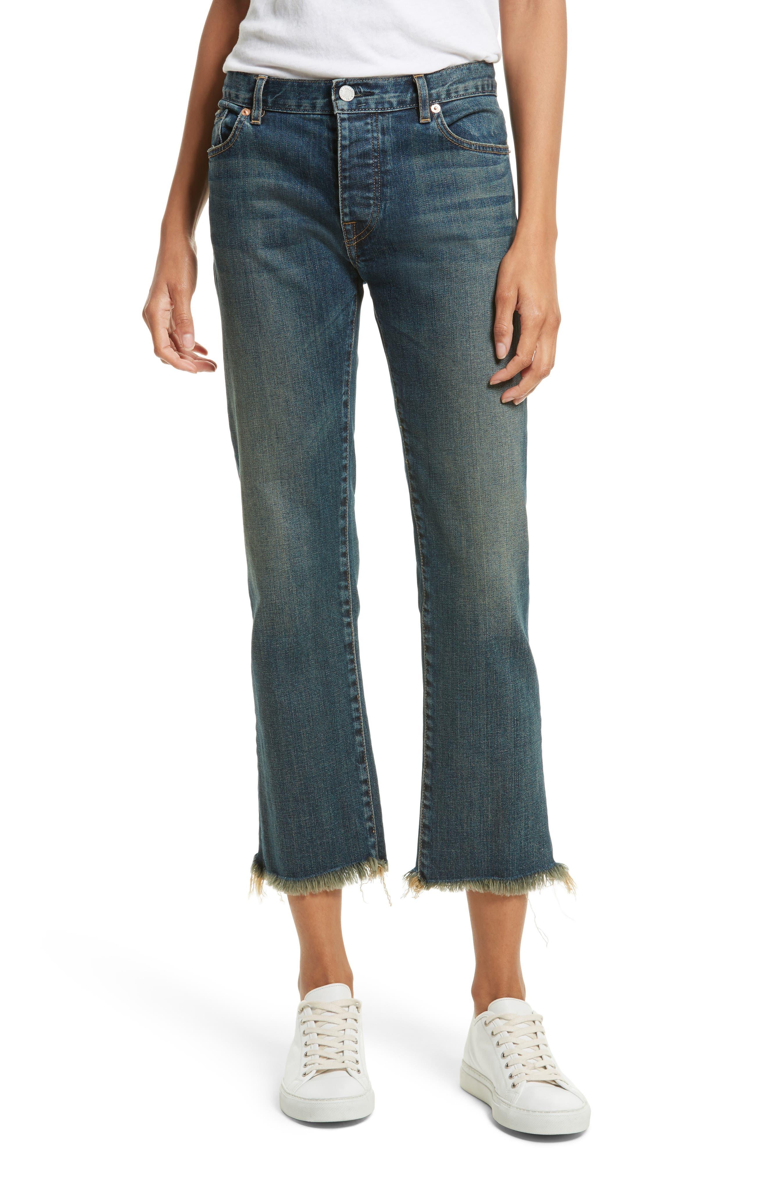Alternate Image 1 Selected - Nili Lotan Raw Edge Crop Boyfriend Jeans (Walker)