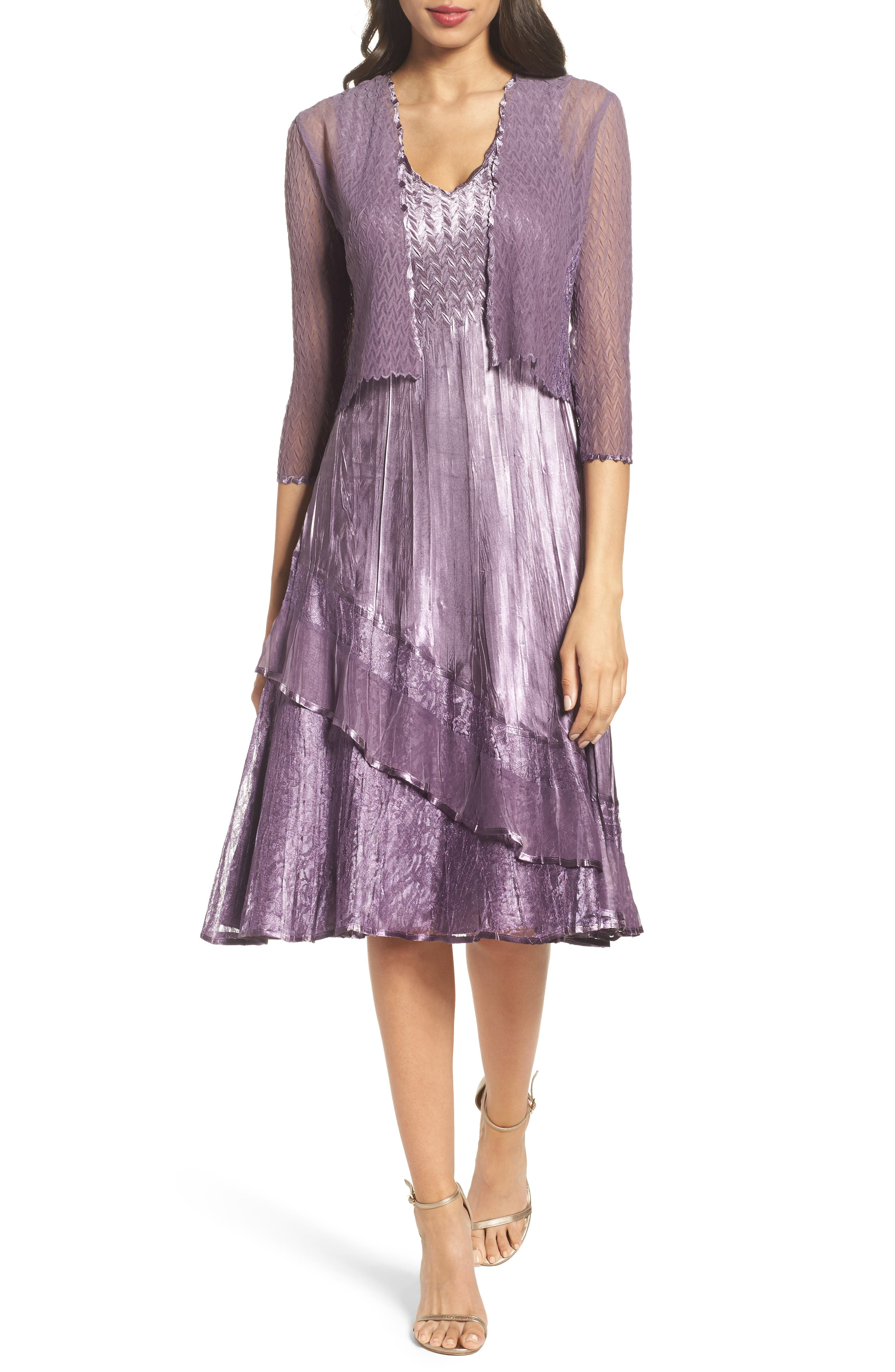 Charmeuse A-Line Dress & Chiffon Jacket,                         Main,                         color, Purple Orchid Ombre