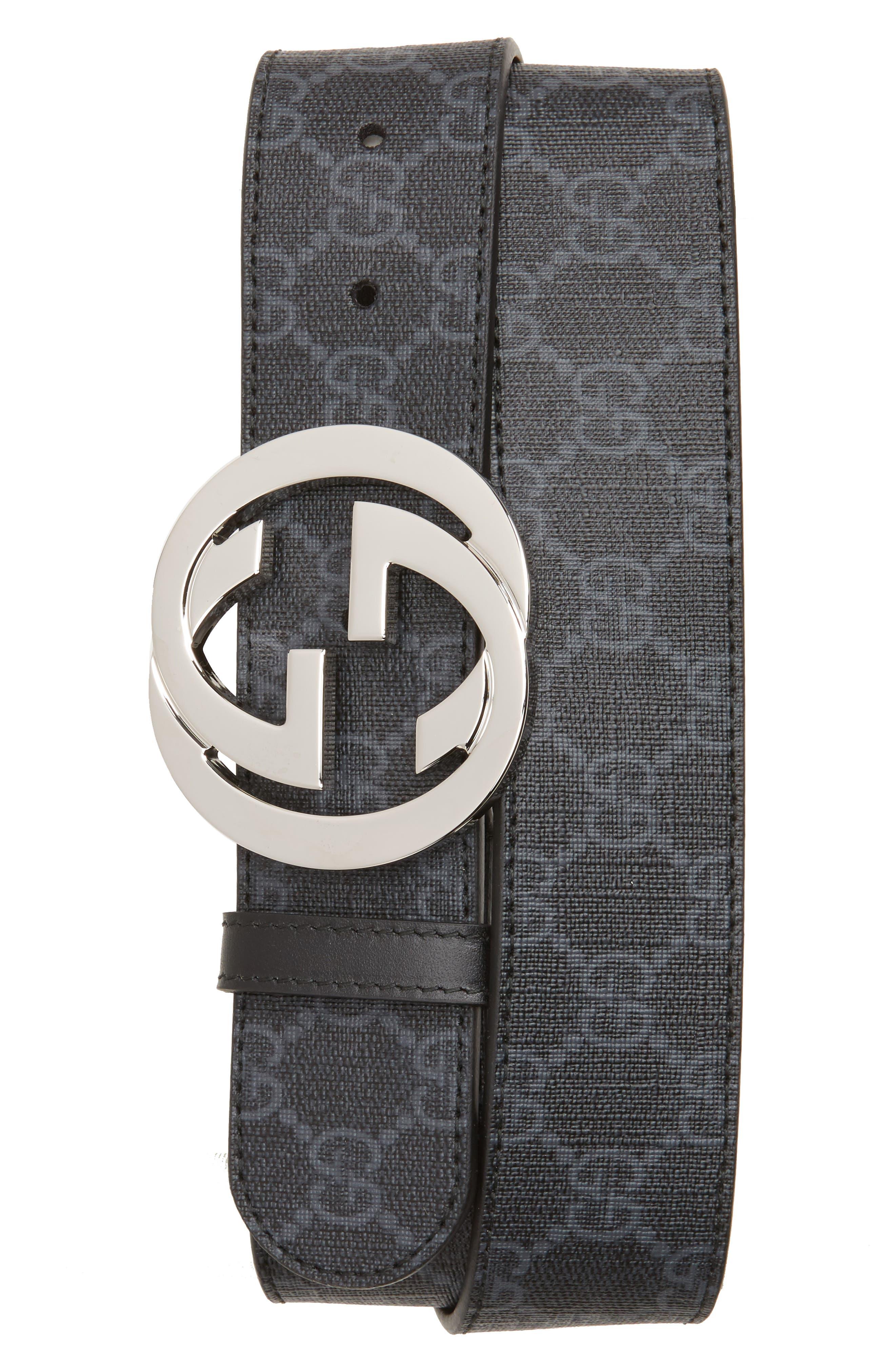 Logo Buckle Interlocking Belt,                             Main thumbnail 1, color,                             Black