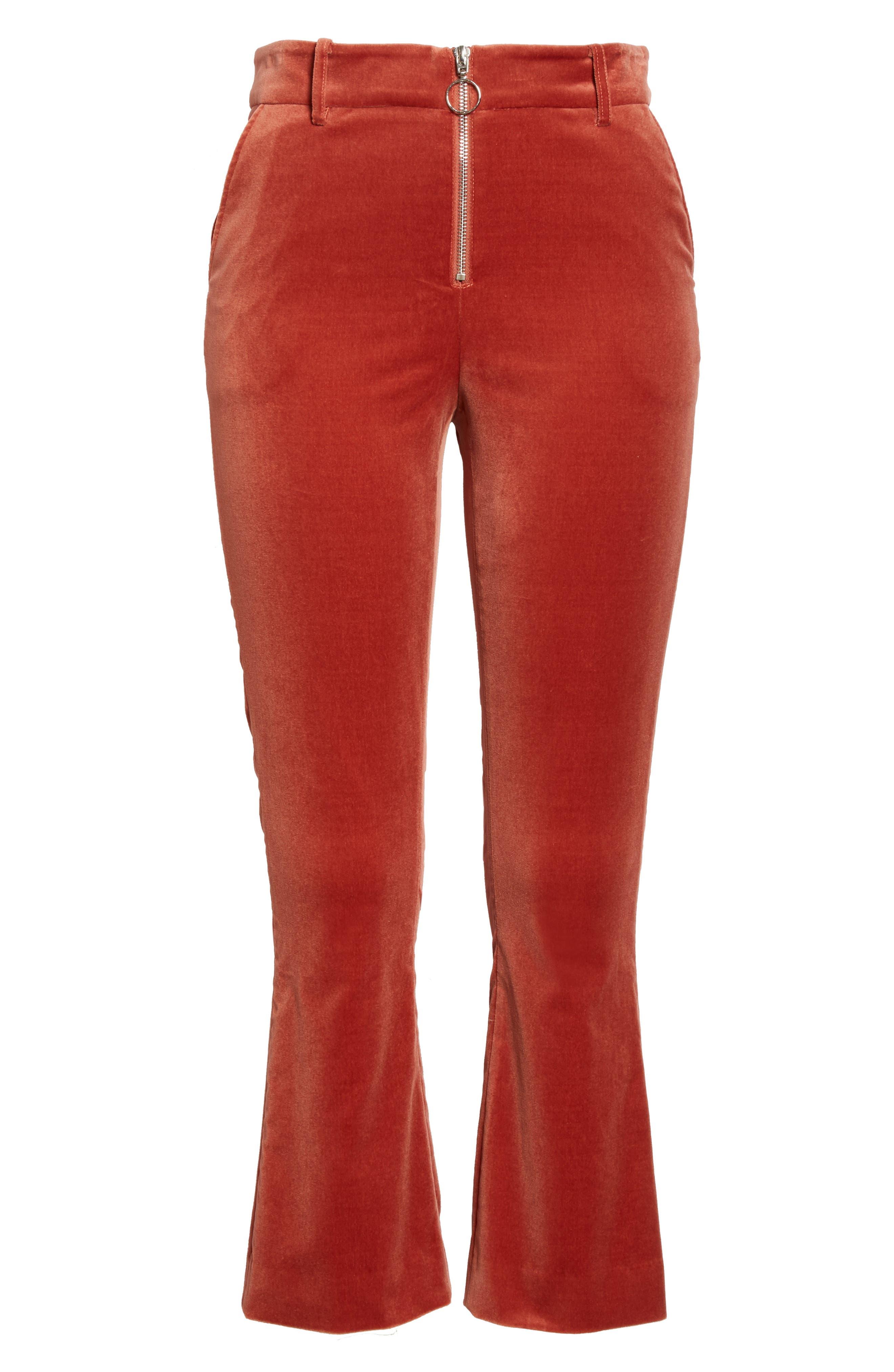 O-Ring Velvet Crop Flare Pants,                             Alternate thumbnail 7, color,                             Spice
