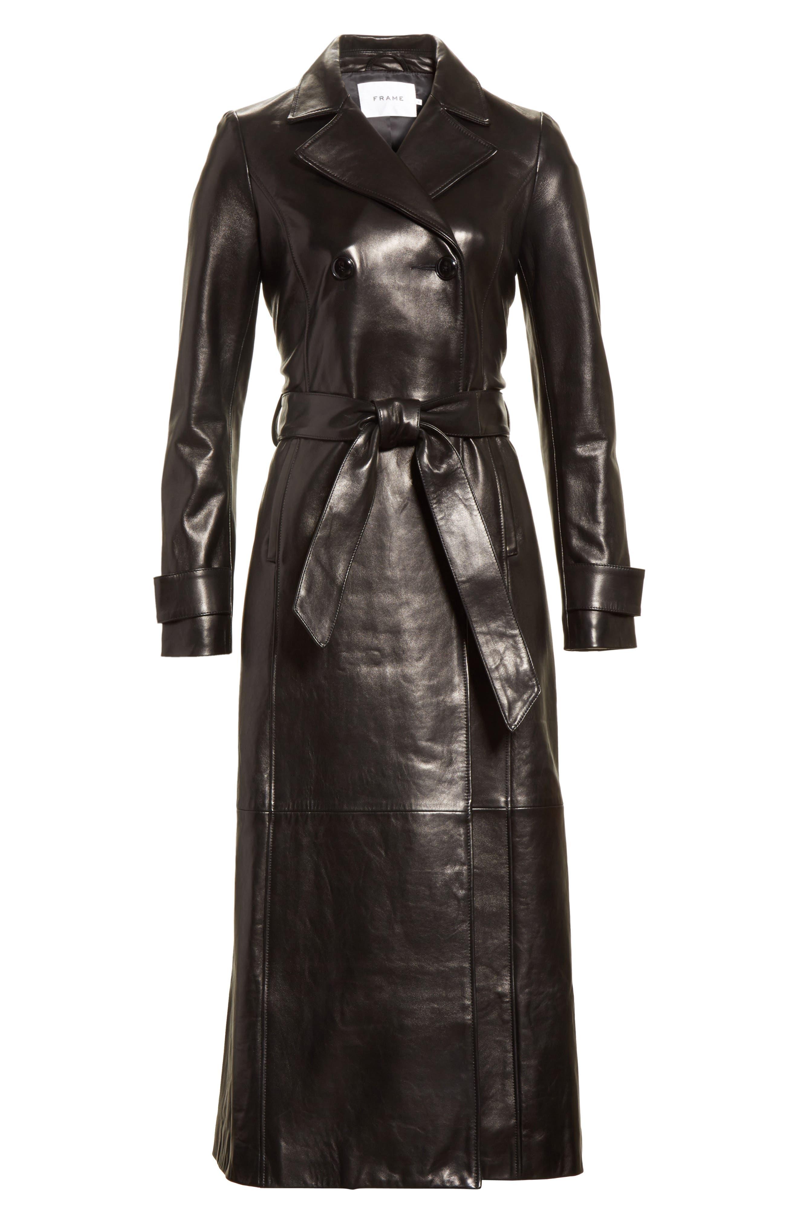 Leather Trench Coat,                             Alternate thumbnail 8, color,                             Noir