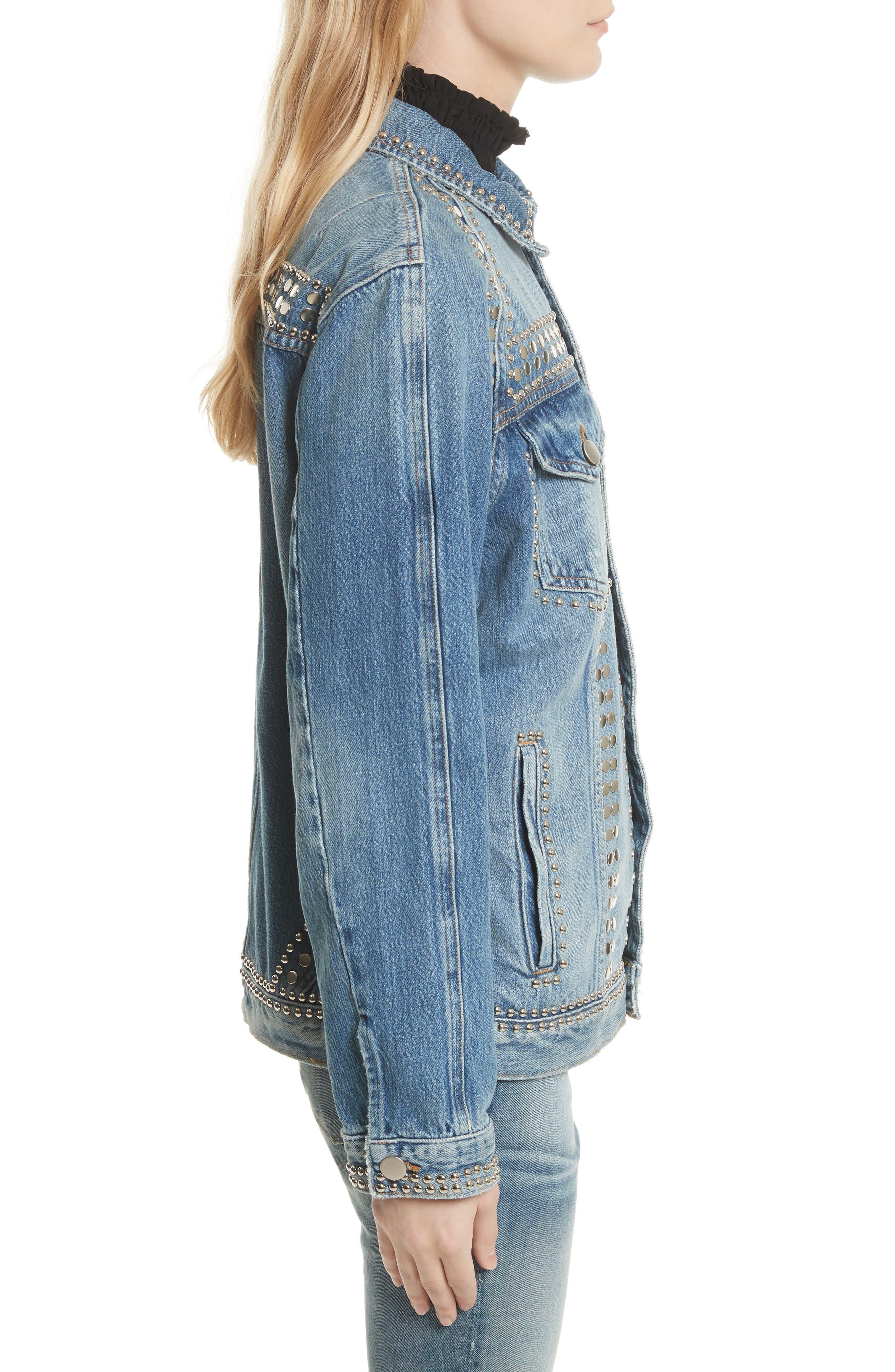 Alternate Image 4  - FRAME Le Studded Denim Jacket