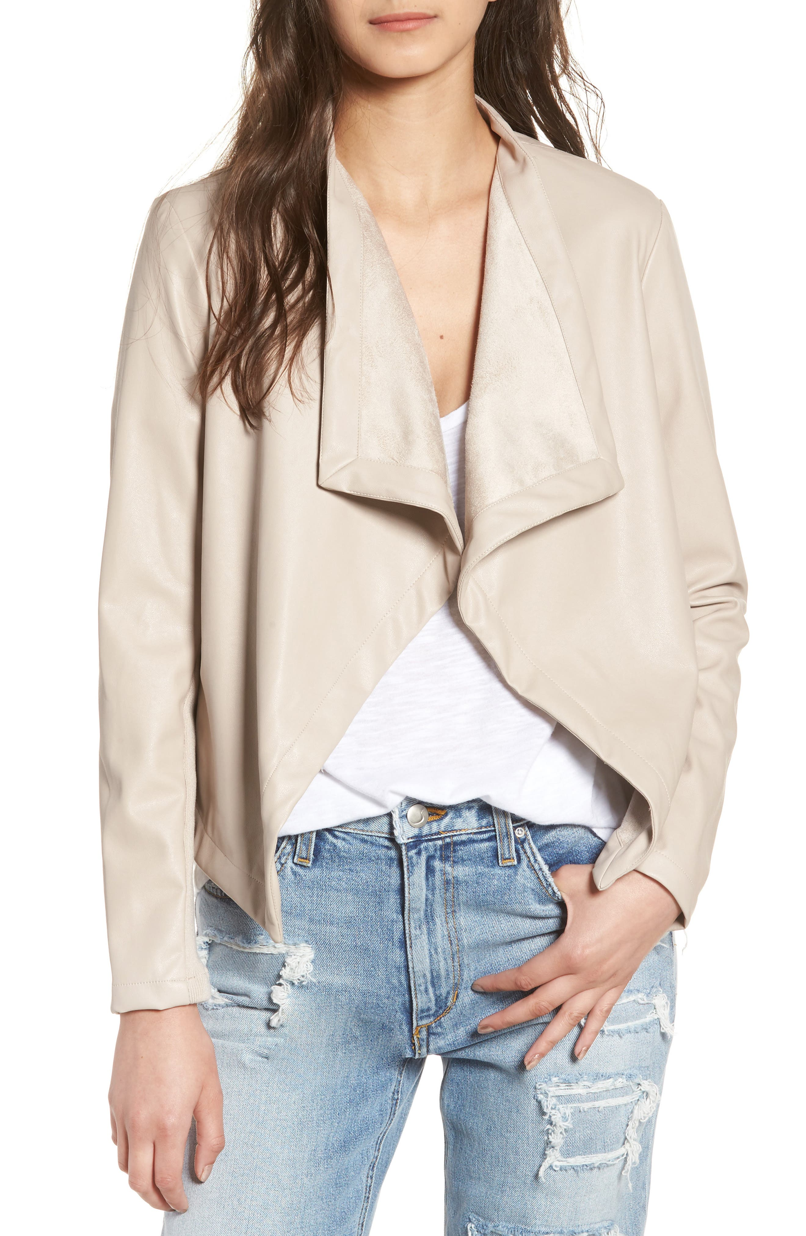 'Peppin' Drape Front Faux Leather Jacket,                             Main thumbnail 1, color,                             Latte
