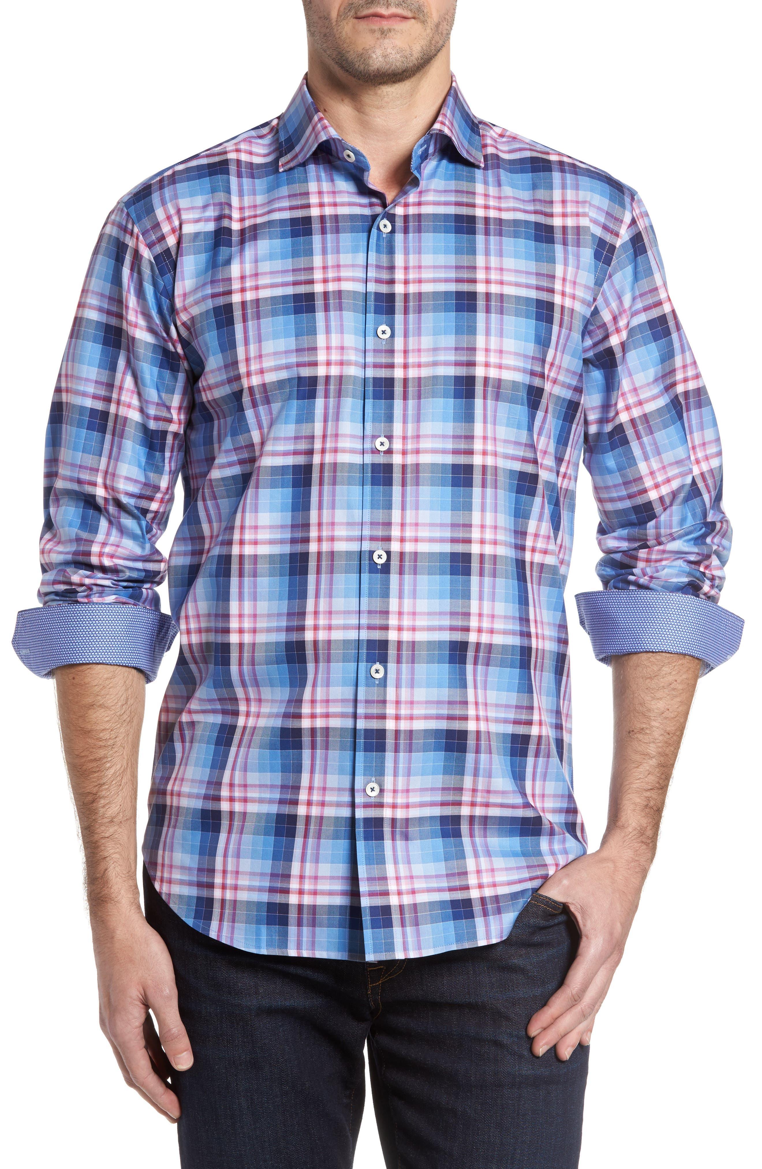 Shaped Fit Check Sport Shirt,                         Main,                         color, Air Blue
