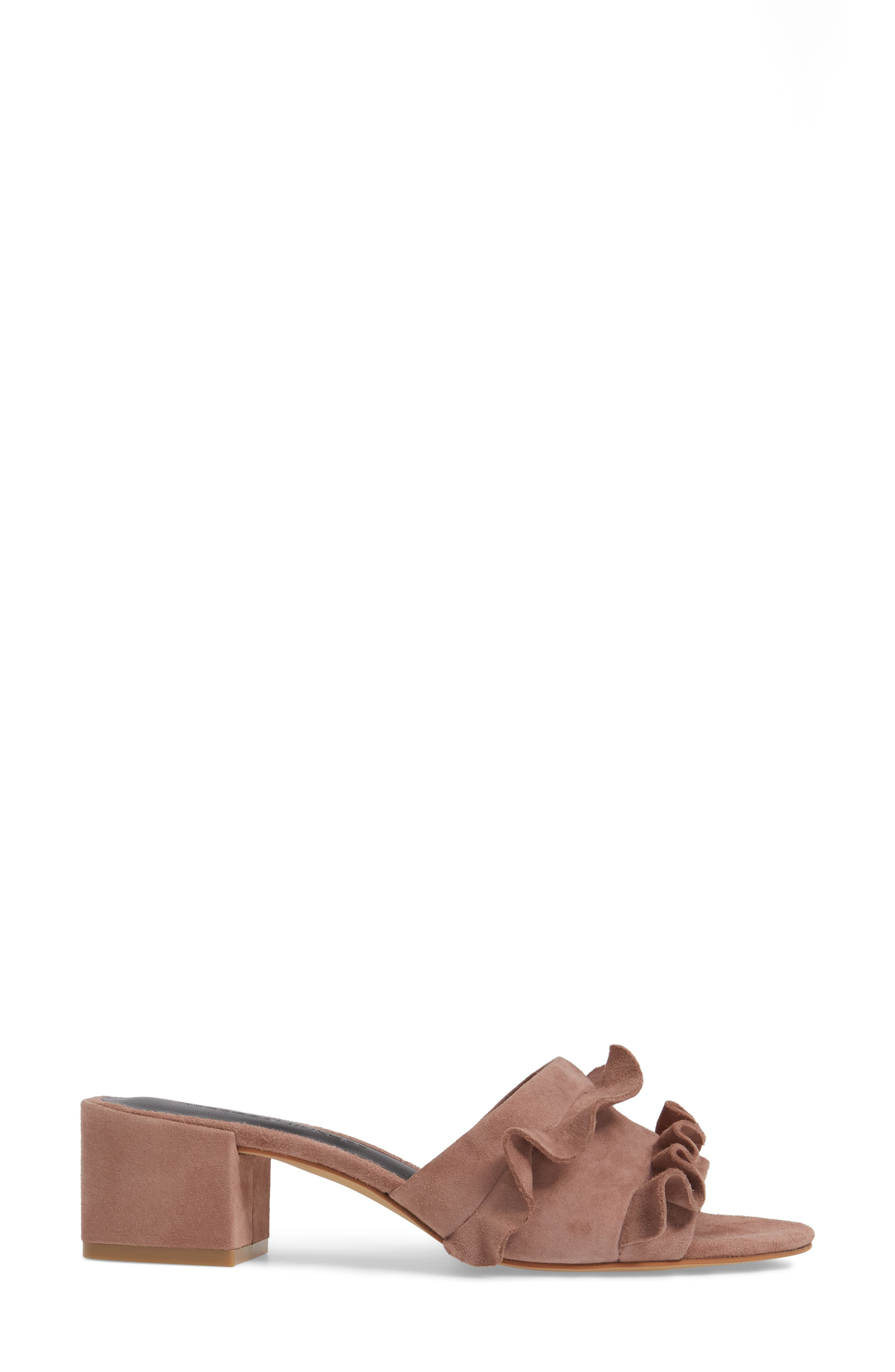Isabelle Ruffle Mule Sandal,                             Alternate thumbnail 3, color,                             Berry Smoothie Suede