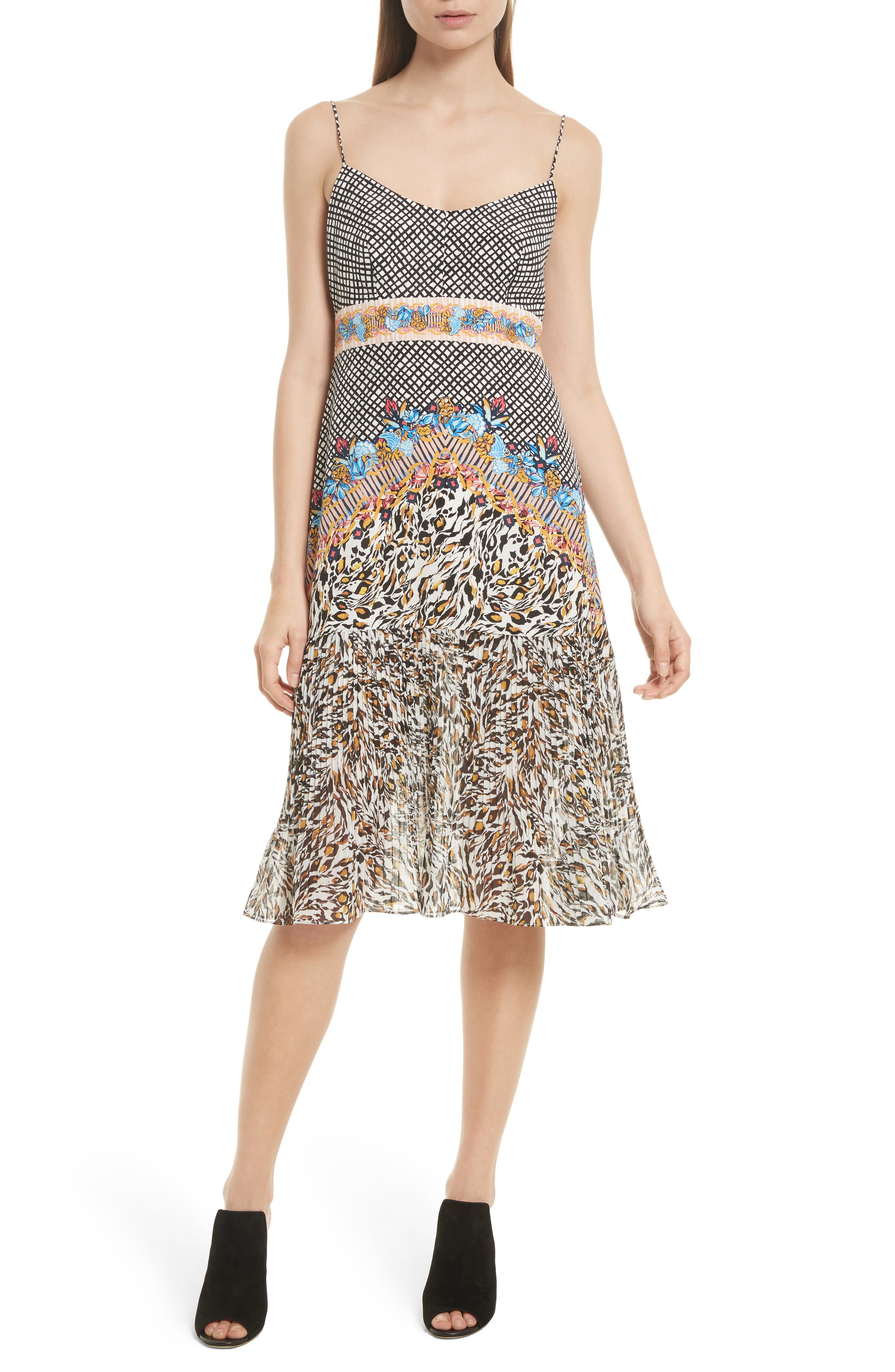 Veronica Print Silk Dress,                         Main,                         color, Mustard Leopard