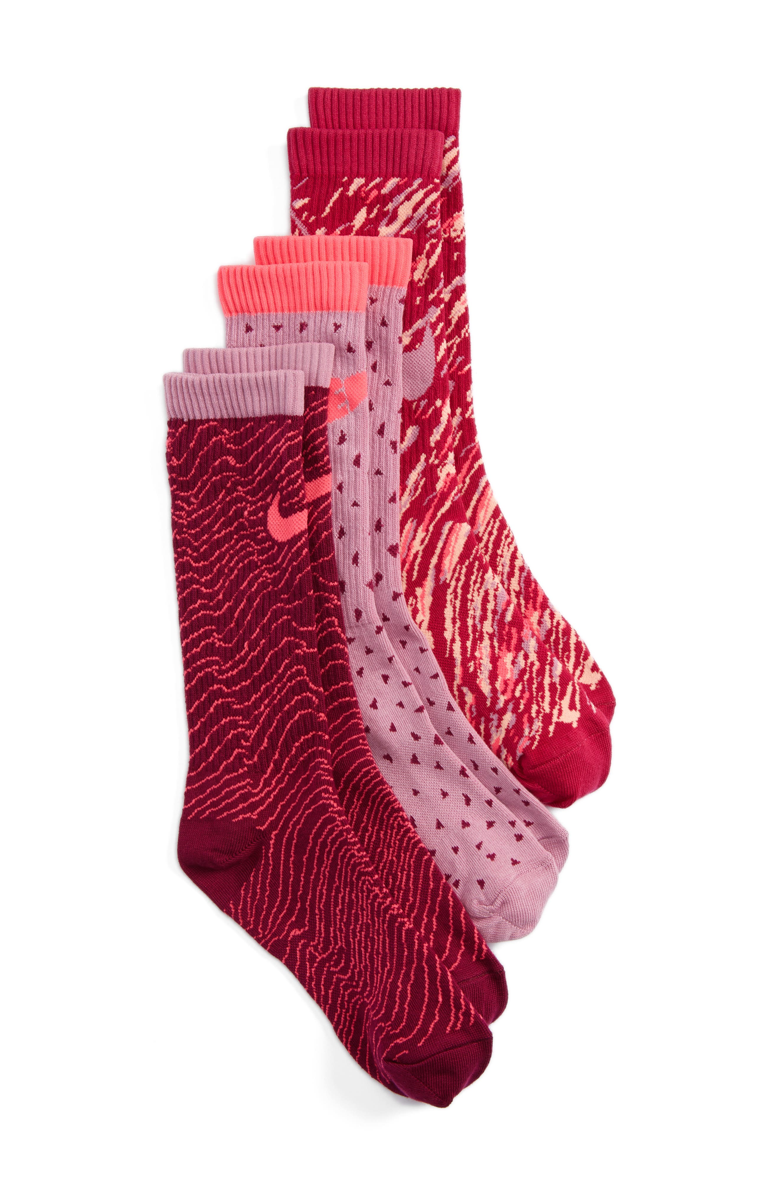 Main Image - Nike 3-Pack Graphic Crew Socks (Big Kid)