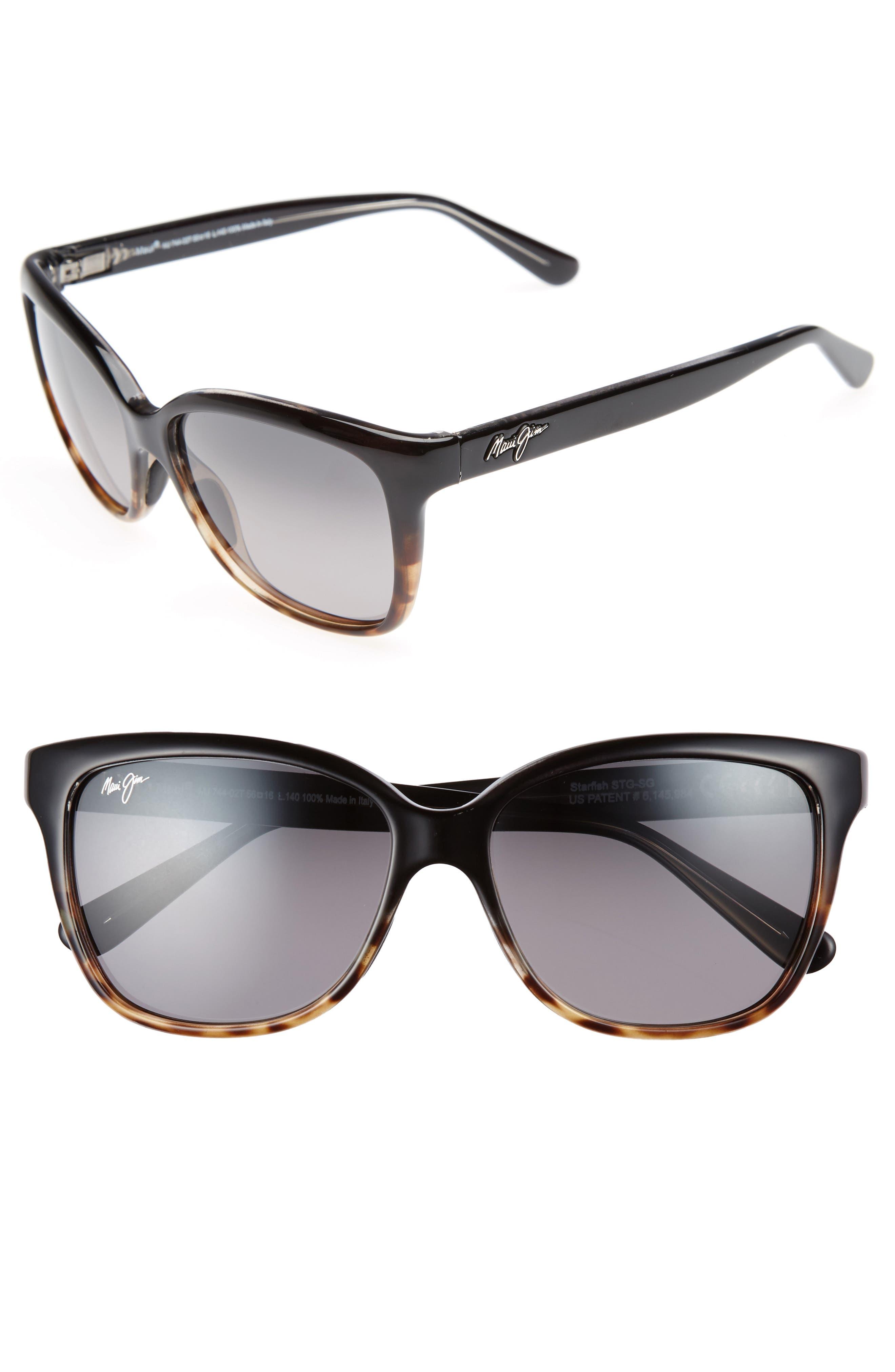 Starfish 56mm Polarized Cat Eye Sunglasses,                             Main thumbnail 1, color,                             Black/ Tortoise