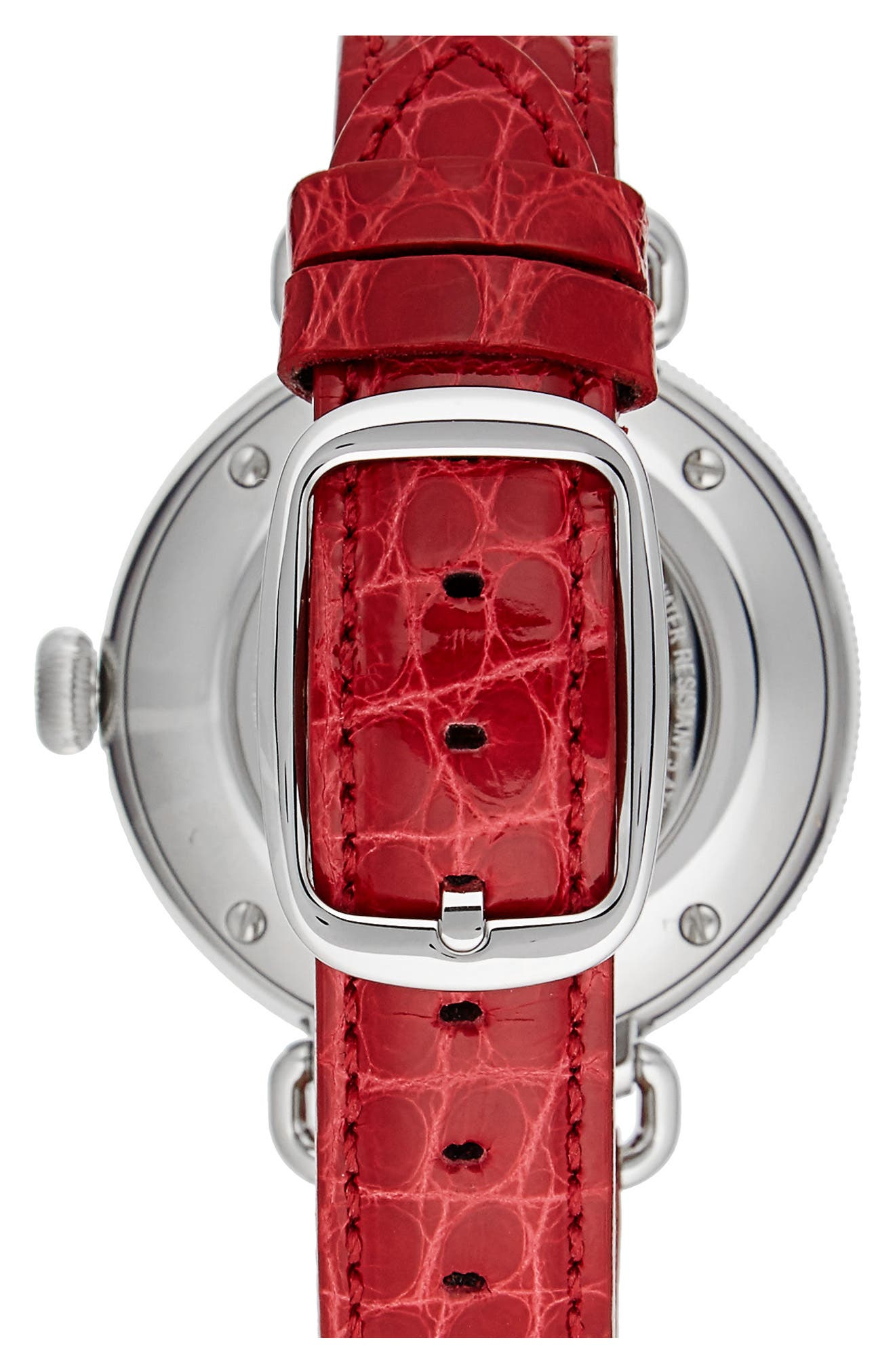 The Canfield Alligator Strap Watch, 38mm,                             Alternate thumbnail 2, color,                             Red/ Mop/ Silver