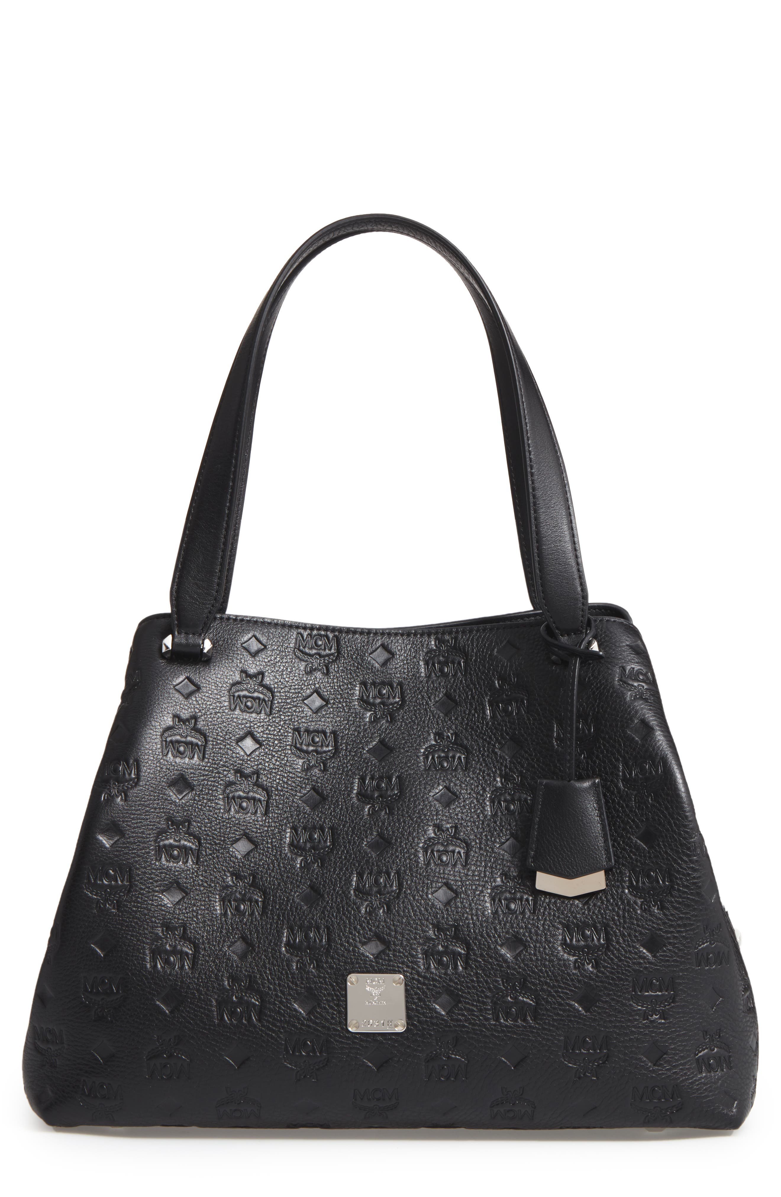 Signature Monogrammed Leather Handbag,                         Main,                         color, Black