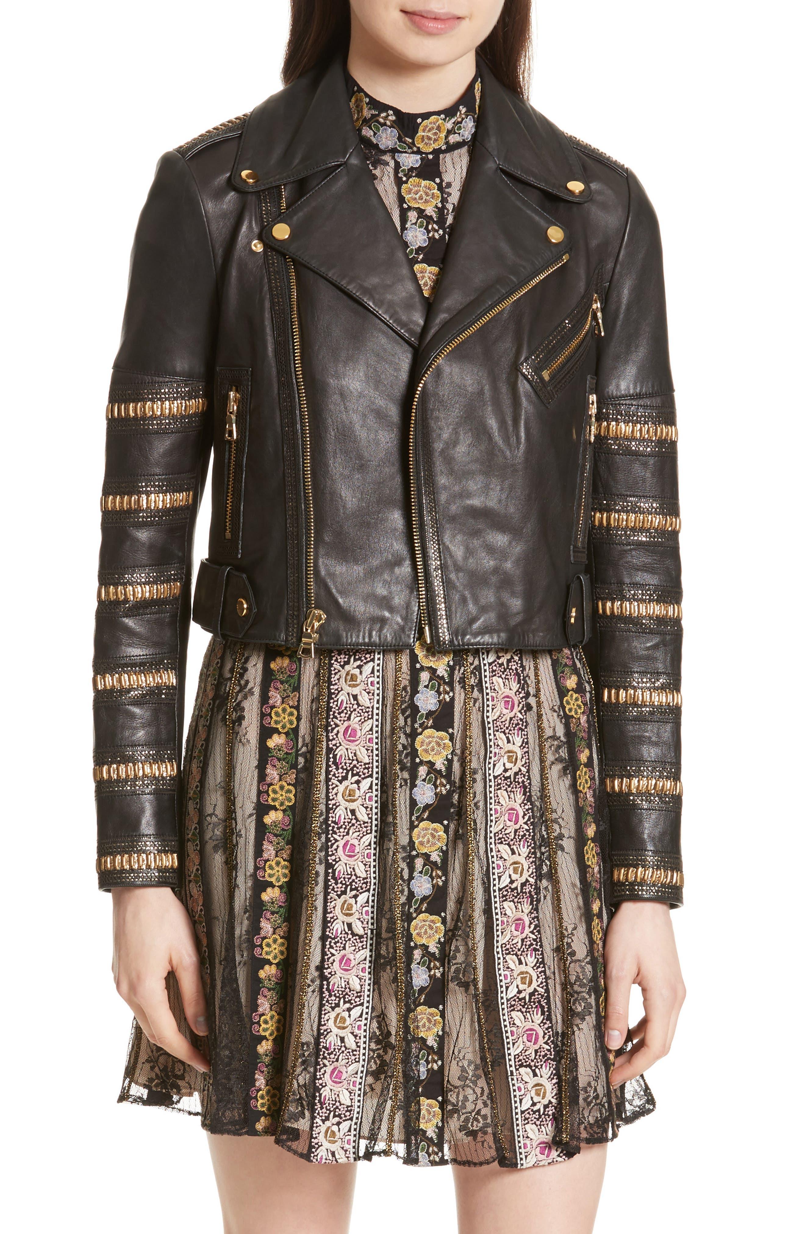 Cody Embellished Leather Moto Jacket,                         Main,                         color, Black/ Gold