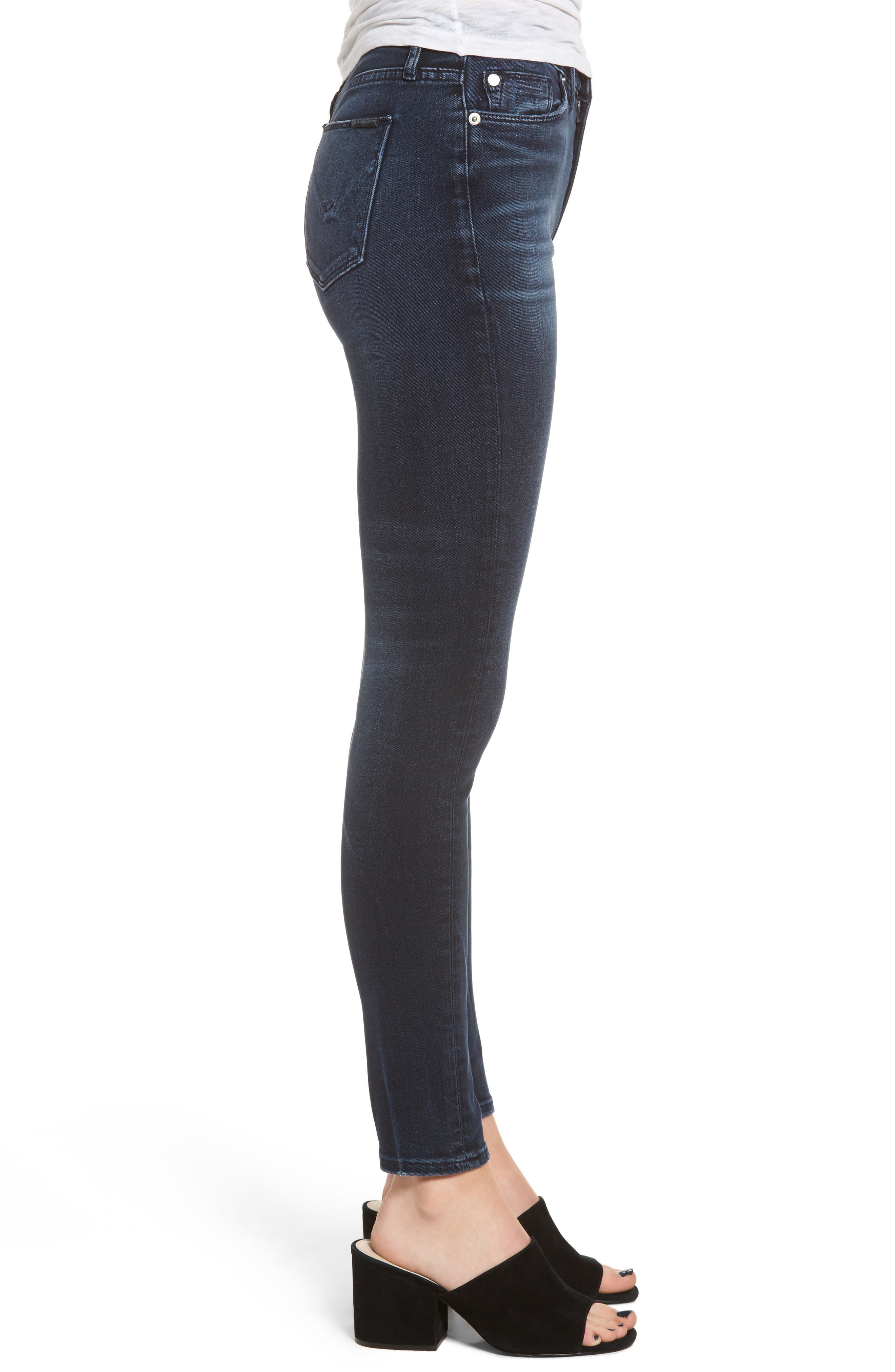 Hudson Barbara High Waist Super Skinny Jeans,                             Alternate thumbnail 3, color,                             Night Ryder