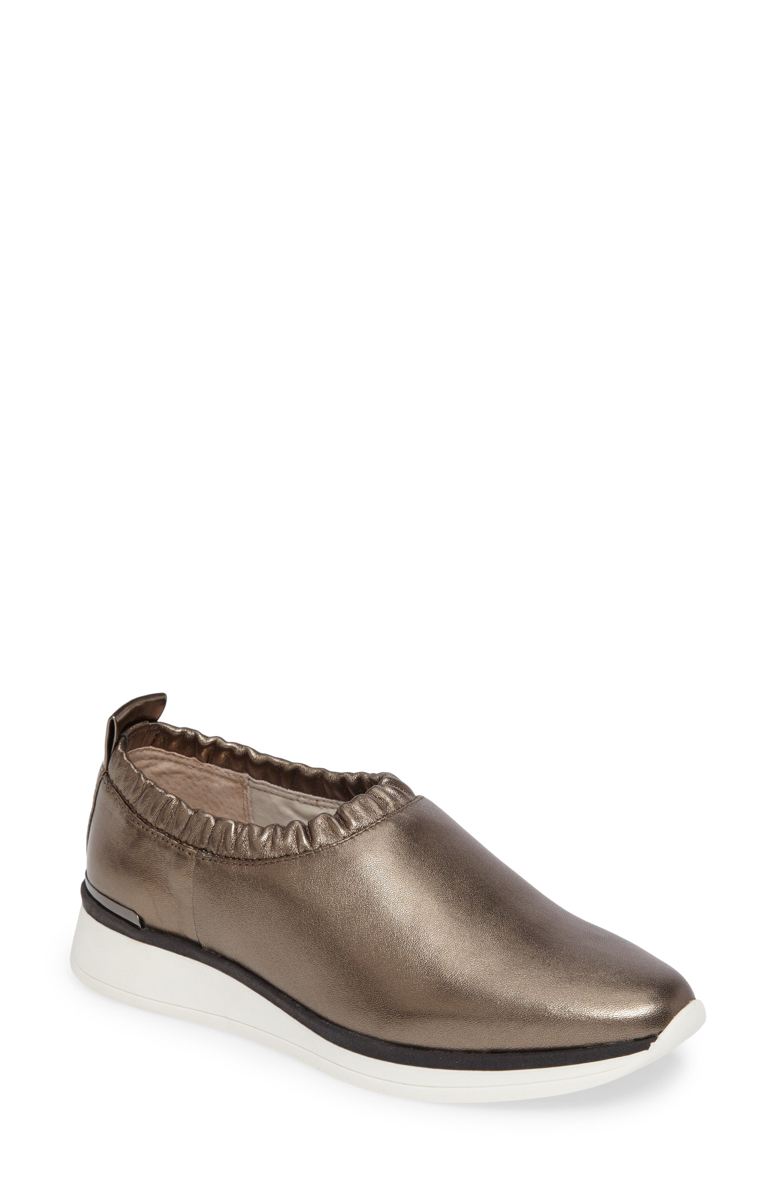 Brogen Slip-On Sneaker,                         Main,                         color, Platina Leather