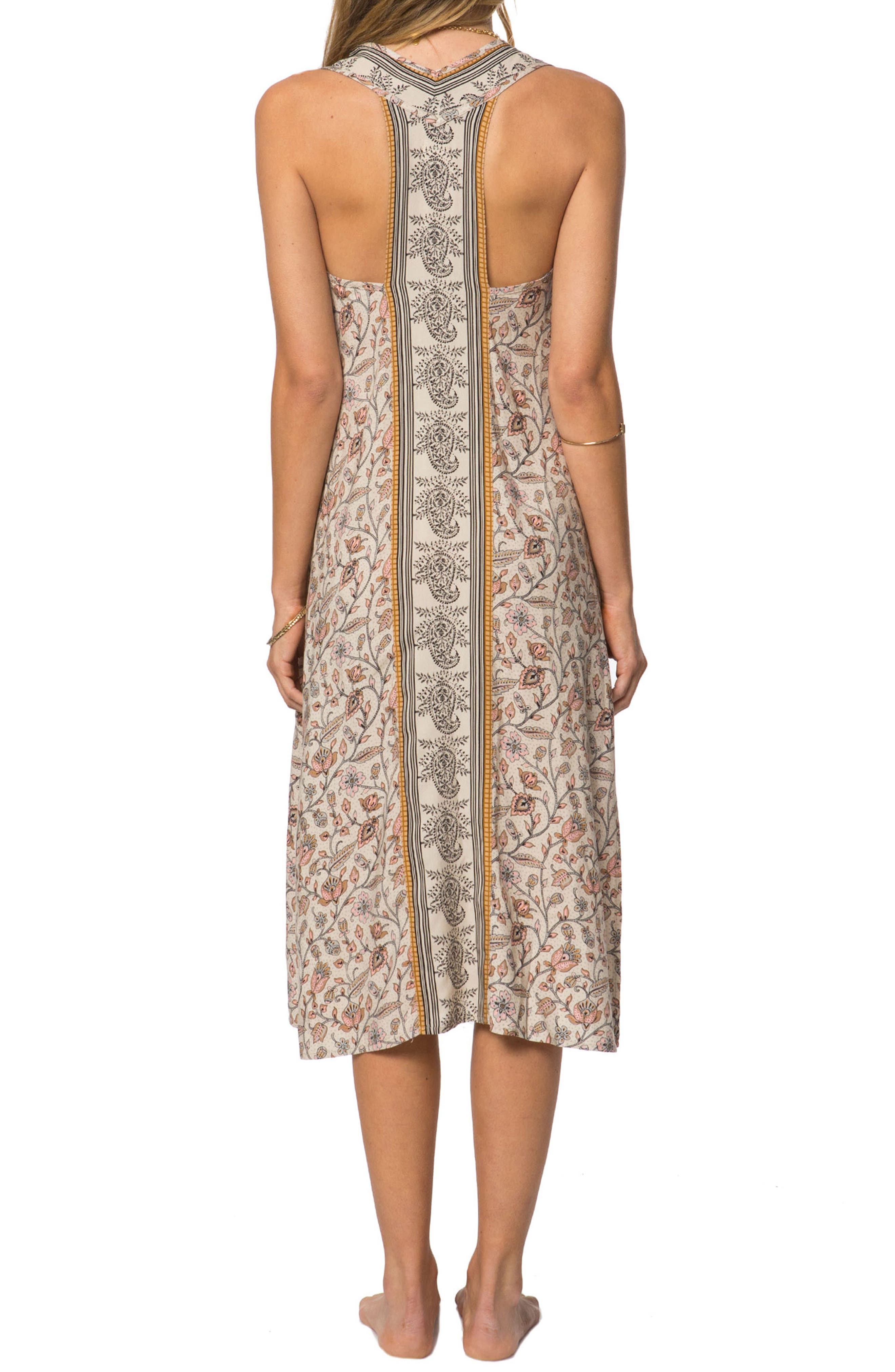 Phoenix Print Midi Dress,                             Alternate thumbnail 2, color,                             Smoke Grey