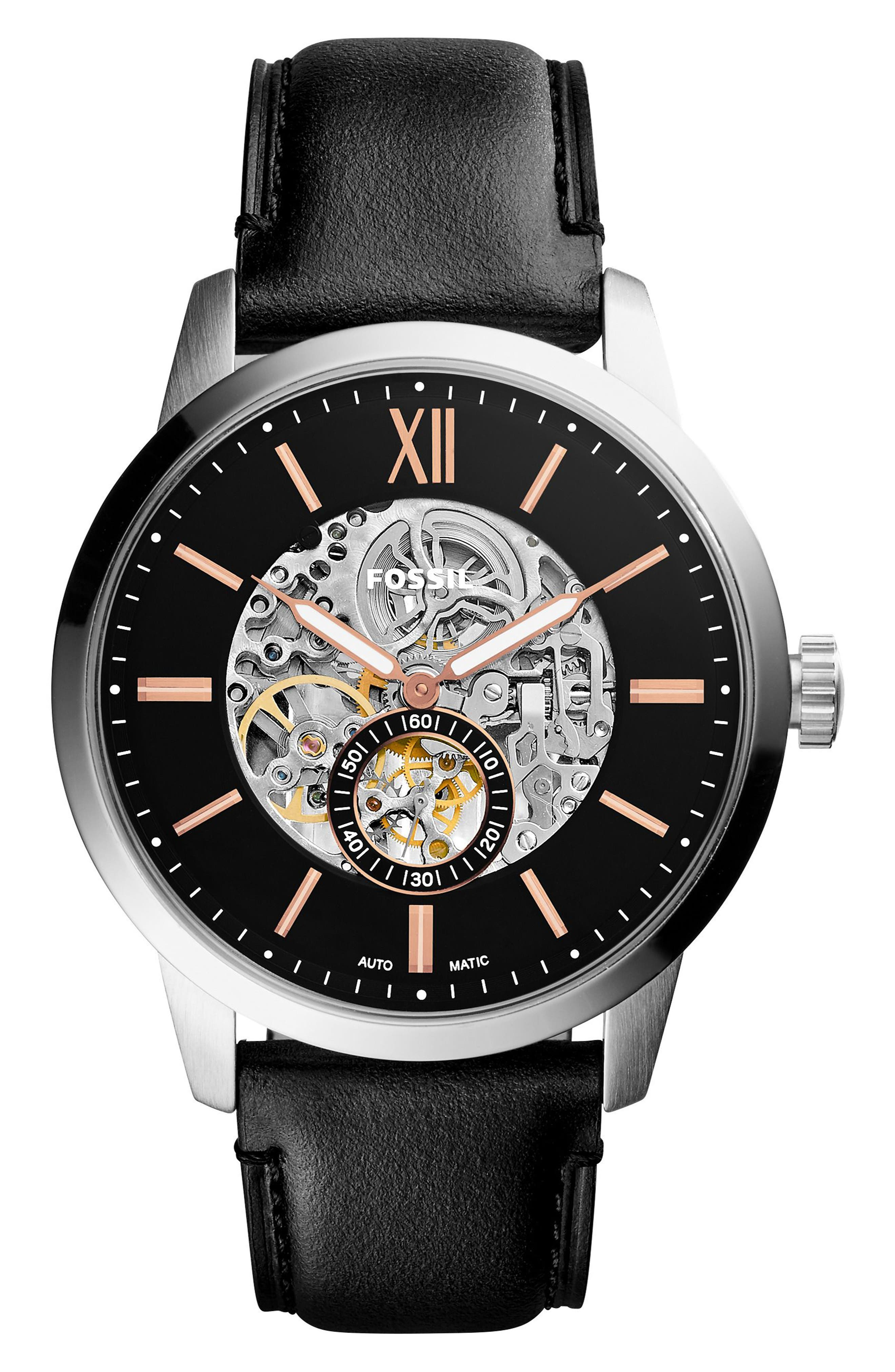 Main Image - Fossil Townsman Automatic Leather Strap Watch, 48mm