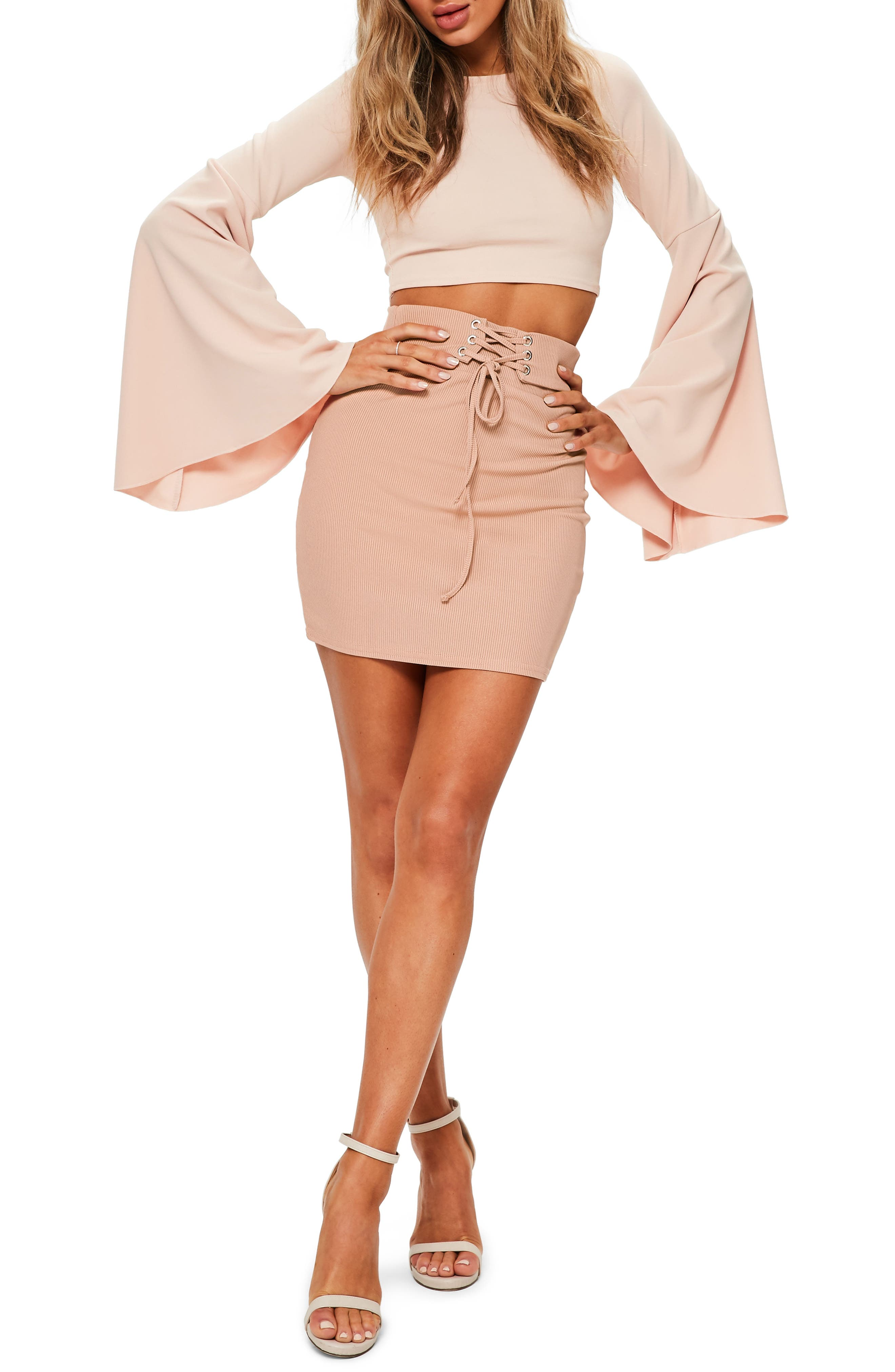 Ribbed Lace-Up Waist Miniskirt,                         Main,                         color, Nude