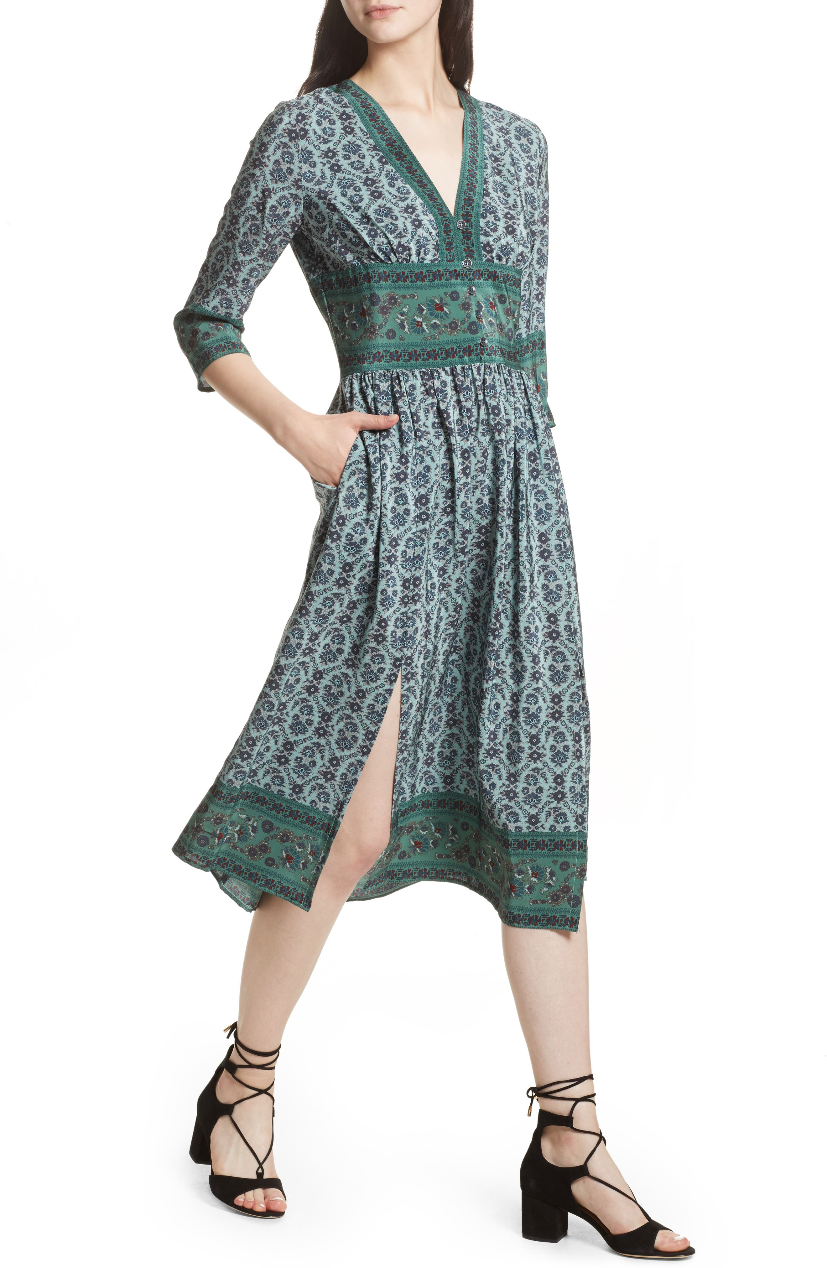 Print Silk Midi Dress,                             Alternate thumbnail 4, color,                             Jade
