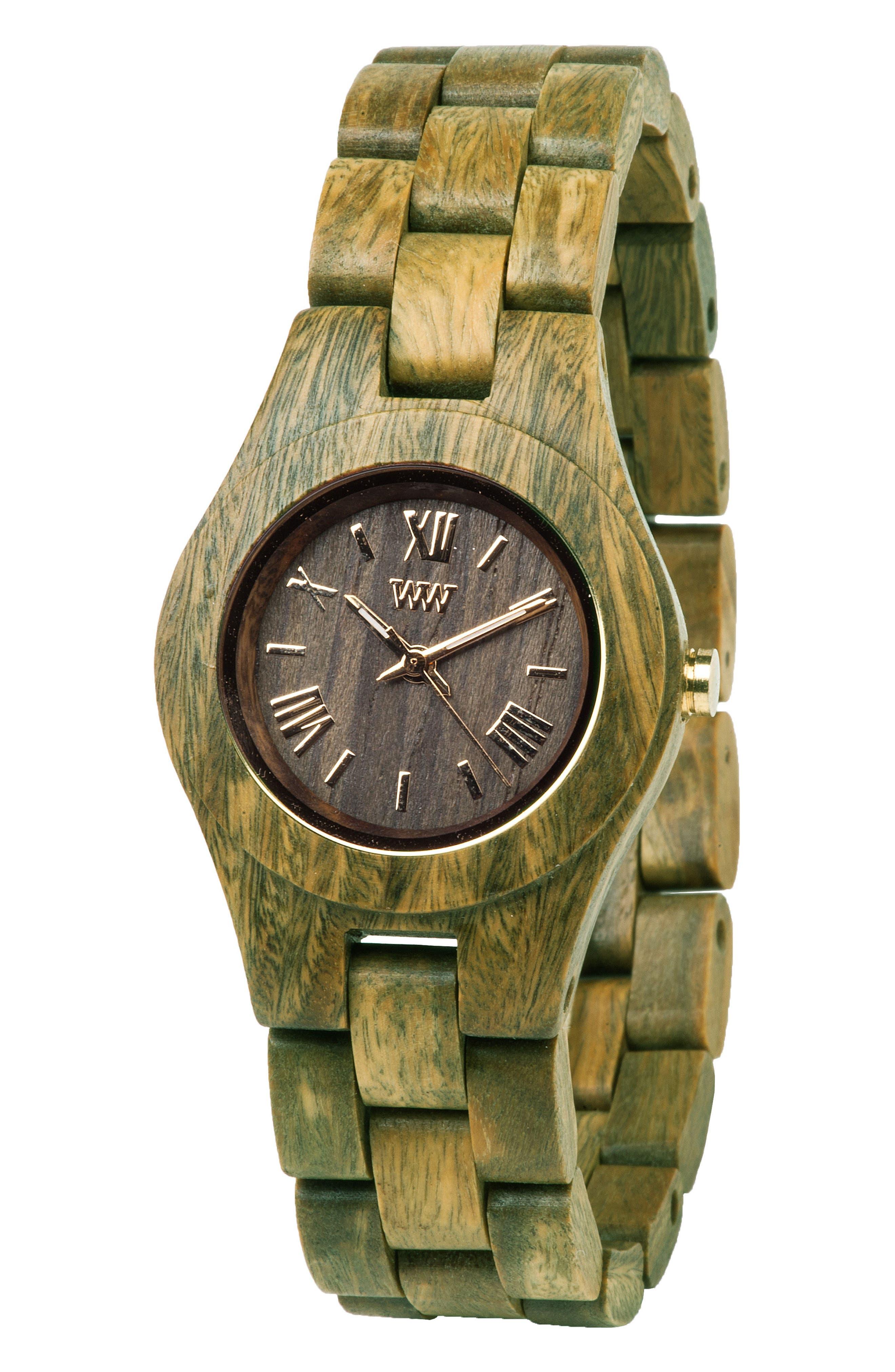 Criss Wood Bracelet Watch, 31mm,                             Alternate thumbnail 3, color,                             Green