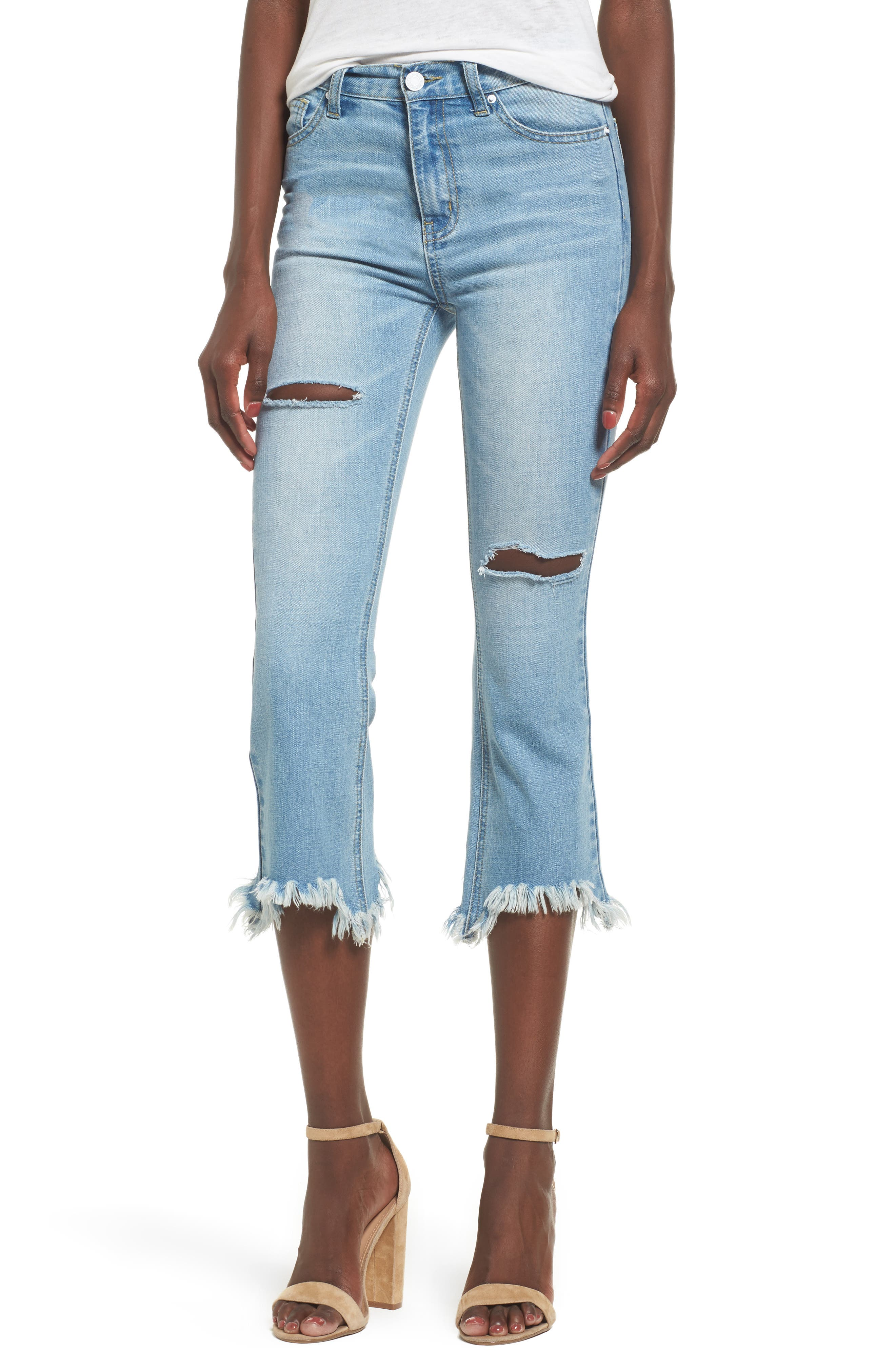 EVIDNT Ripped Fray Hem Crop Jeans