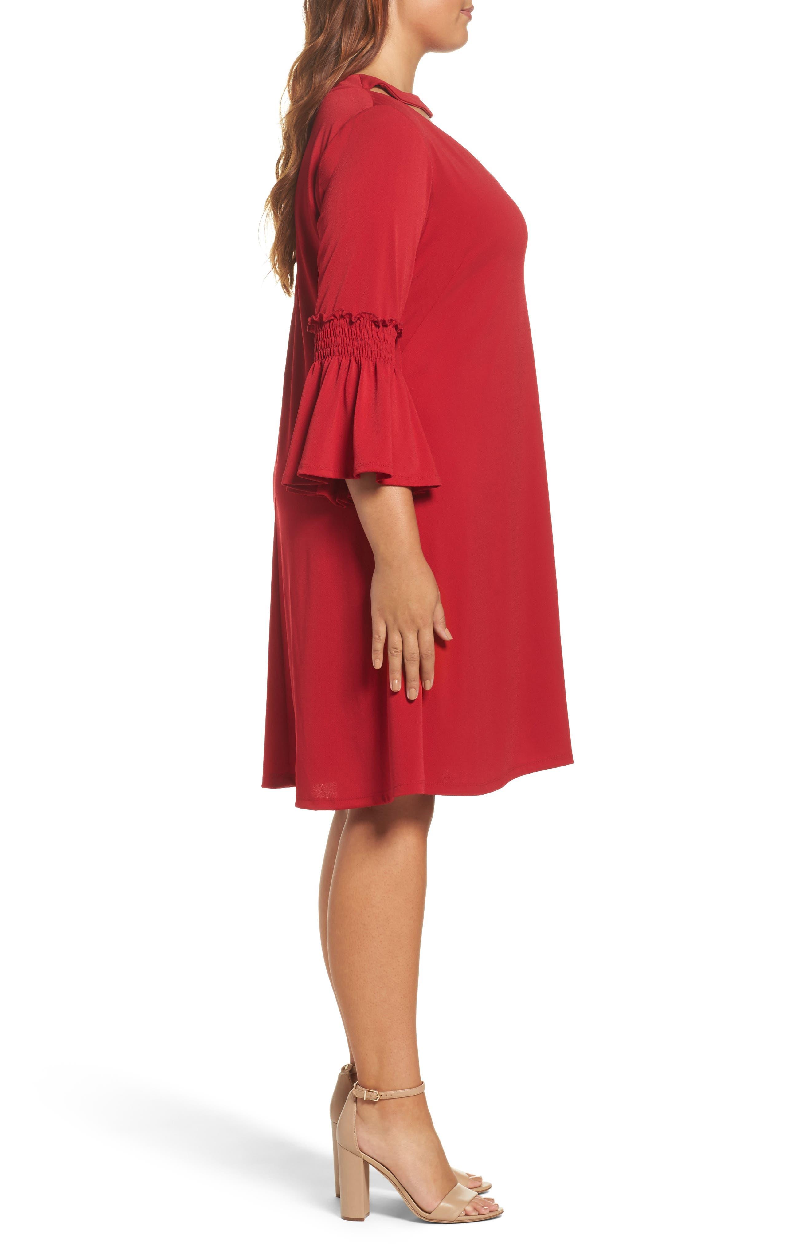 Alternate Image 3  - Gabby Skye Bell Sleeve A-Line Choker Dress (Plus Size)