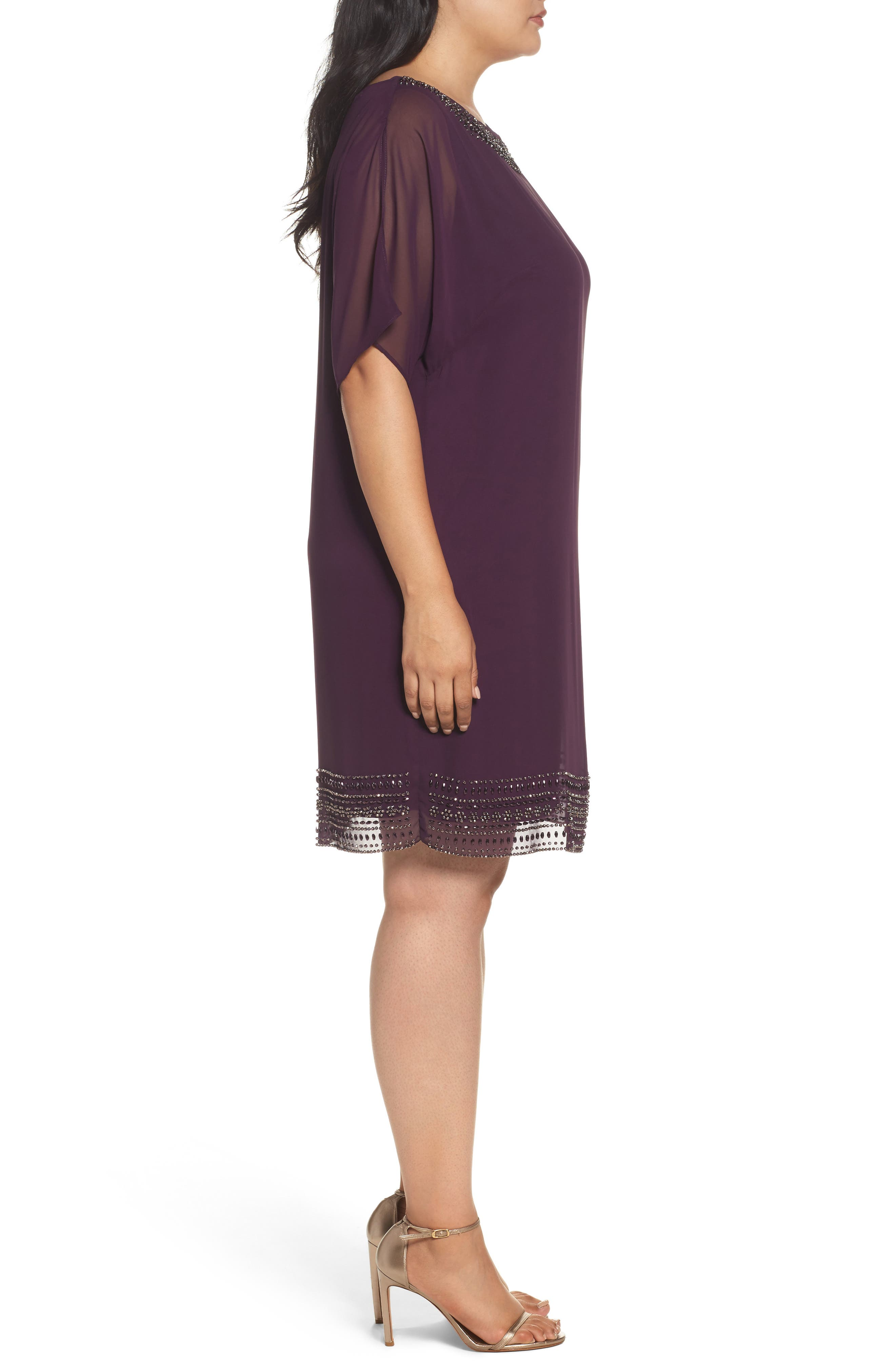 Alternate Image 3  - Xscape Embellished Split Sleeve Chiffon Shift Dress (Plus Size)