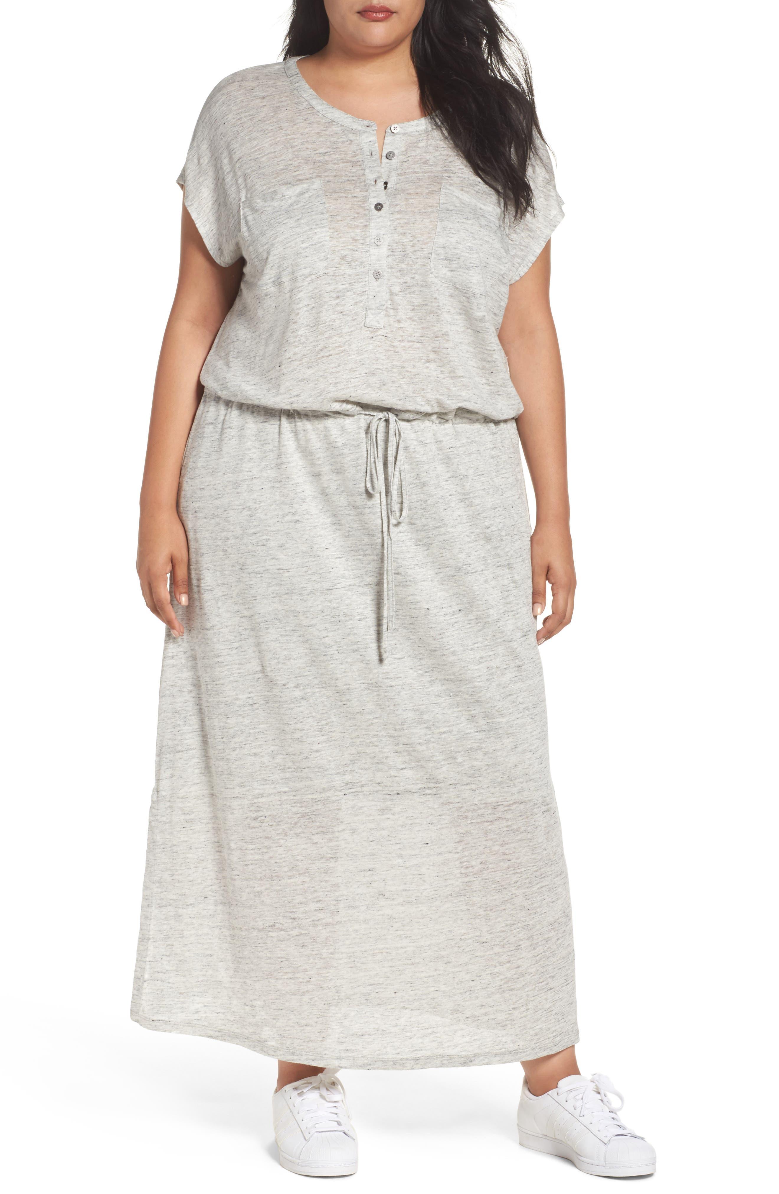 Caslon® Linen Knit Pocket Maxi Dress (Plus Size)