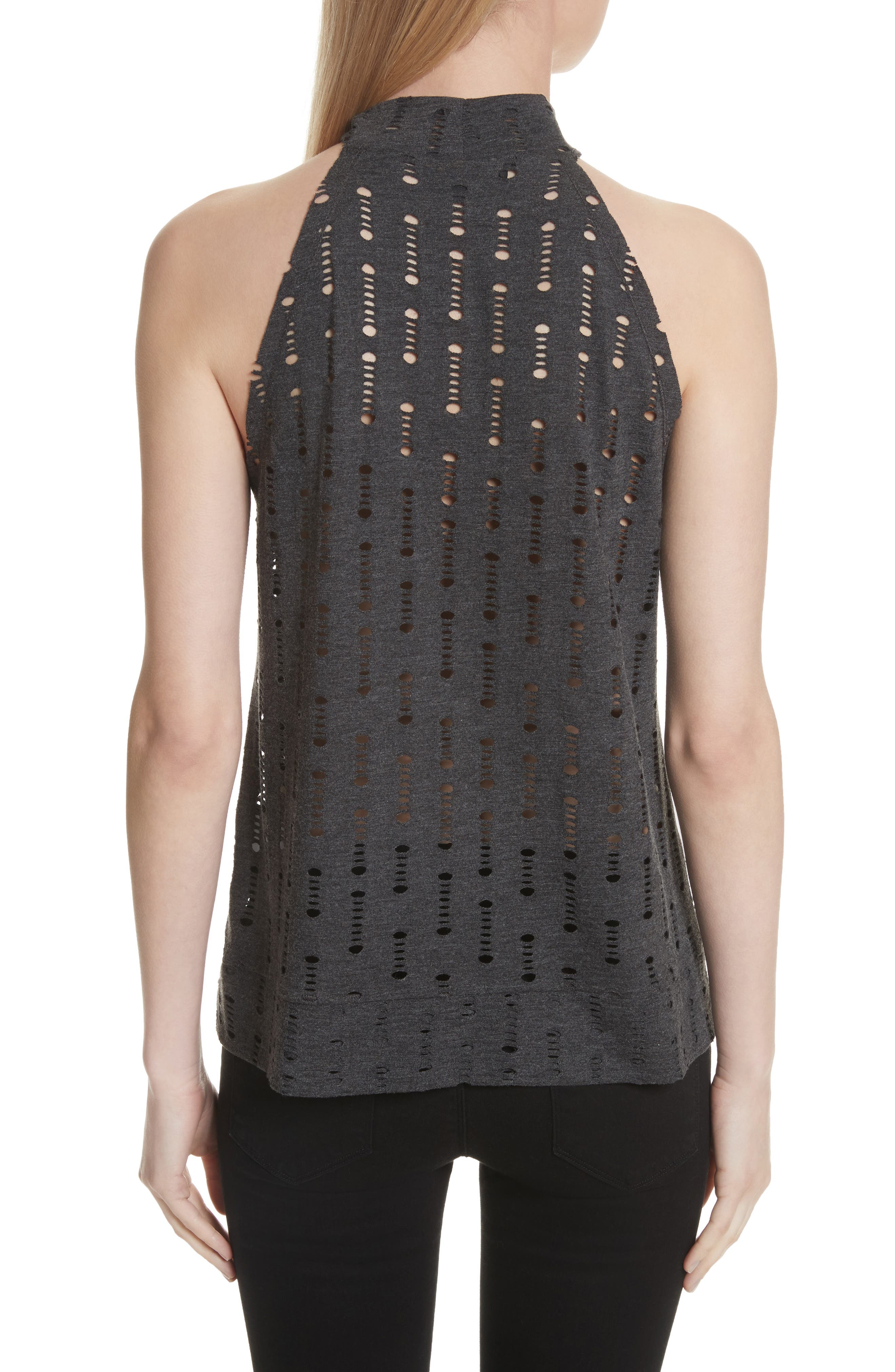 Perforated Halter Top,                             Alternate thumbnail 2, color,                             Black